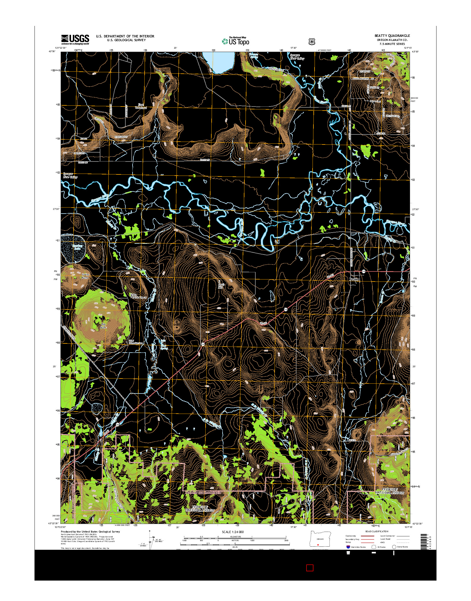 USGS US TOPO 7.5-MINUTE MAP FOR BEATTY, OR 2014