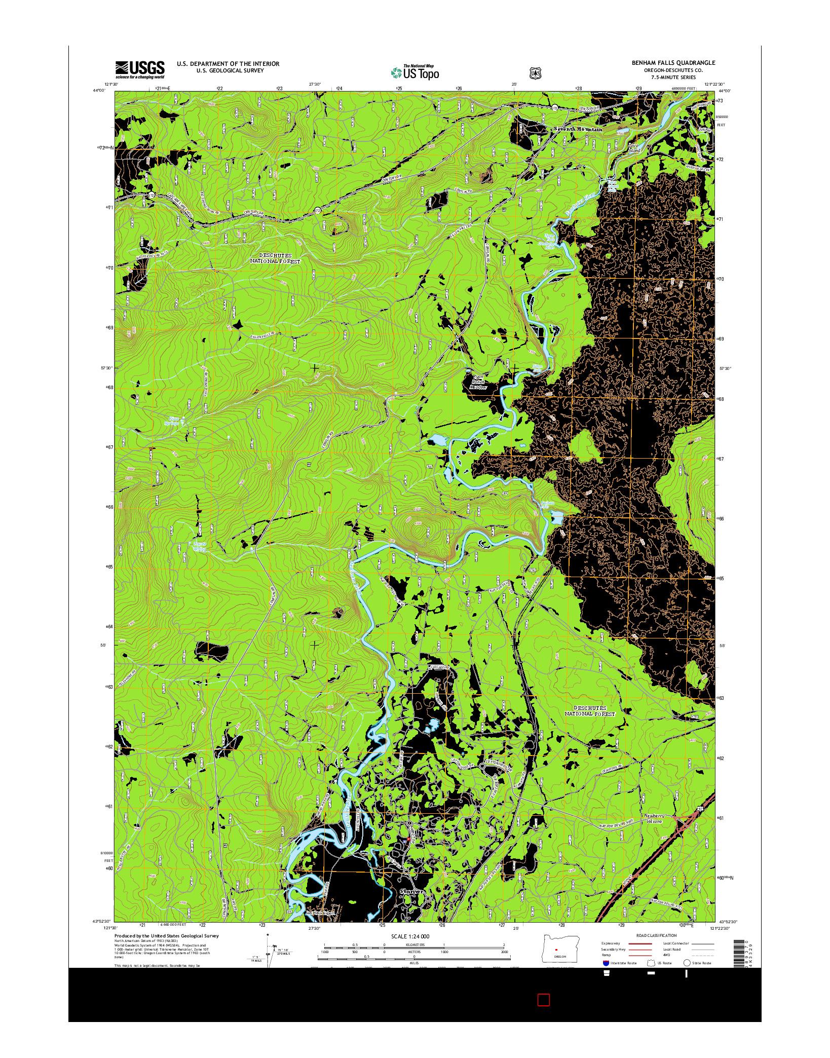 USGS US TOPO 7.5-MINUTE MAP FOR BENHAM FALLS, OR 2014