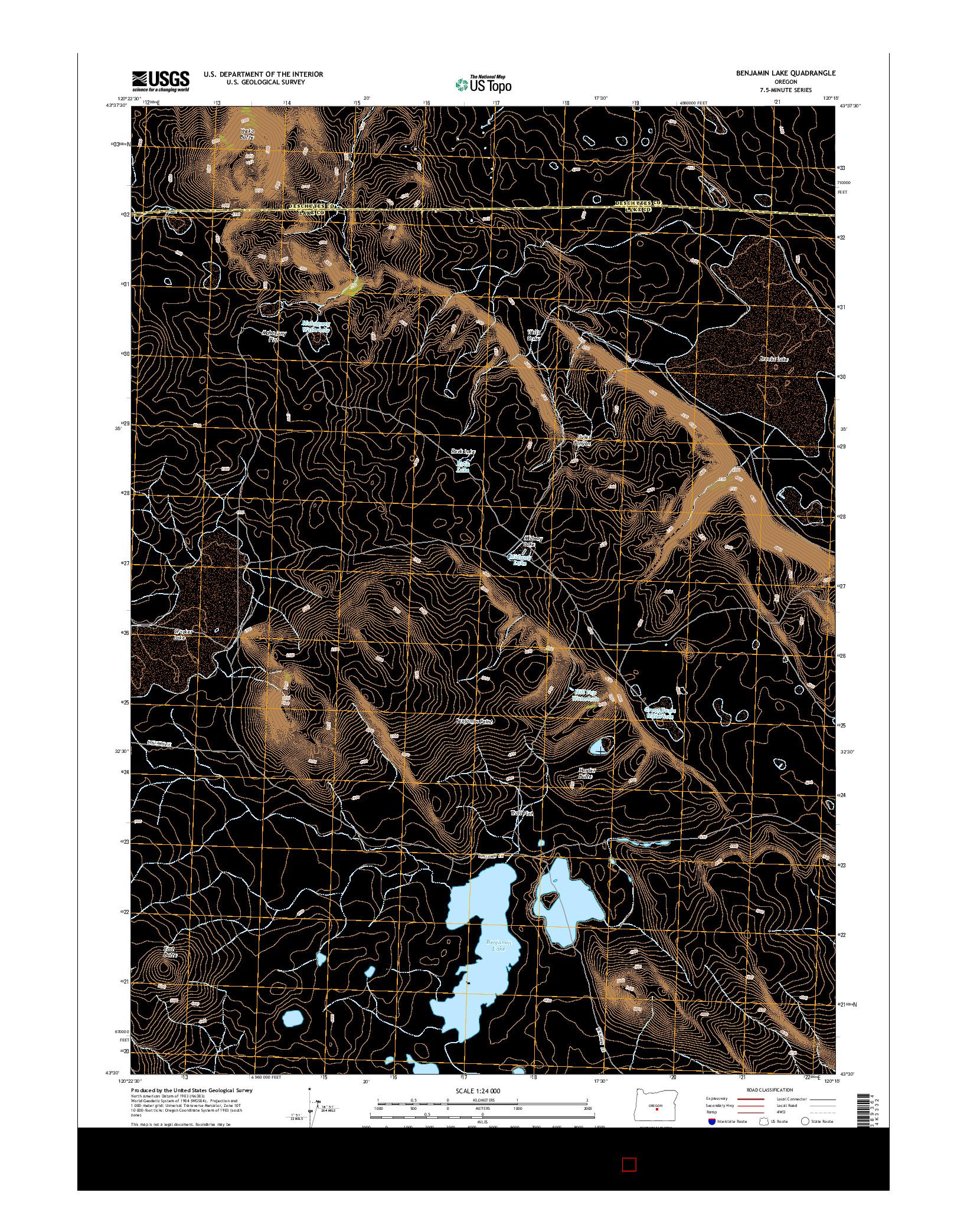 USGS US TOPO 7.5-MINUTE MAP FOR BENJAMIN LAKE, OR 2014