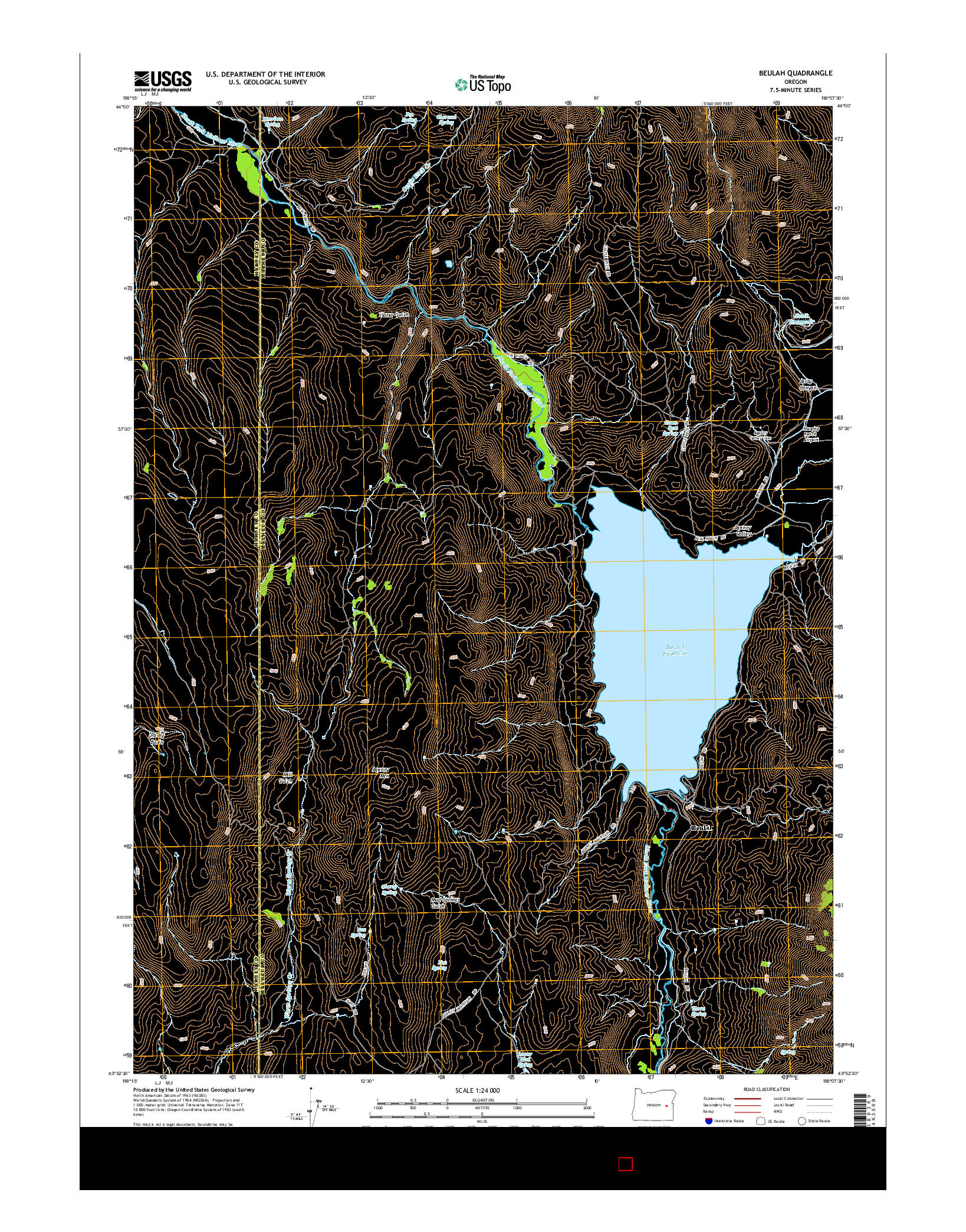 USGS US TOPO 7.5-MINUTE MAP FOR BEULAH, OR 2014