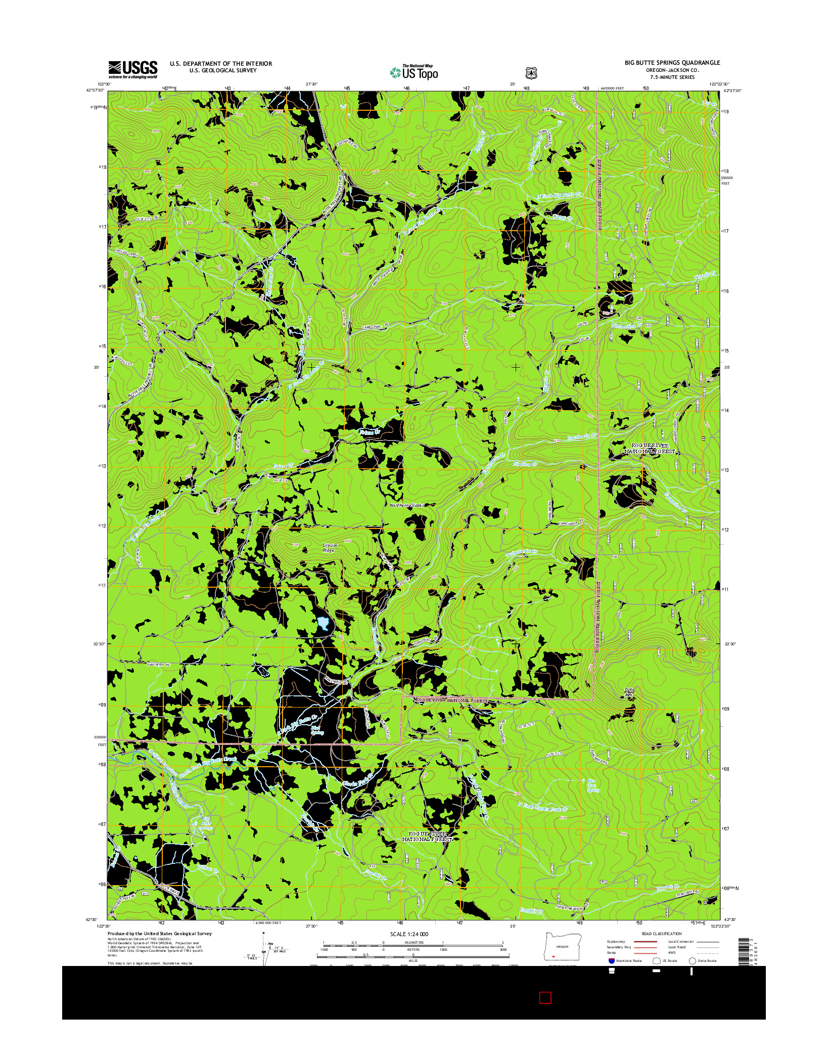 USGS US TOPO 7.5-MINUTE MAP FOR BIG BUTTE SPRINGS, OR 2014