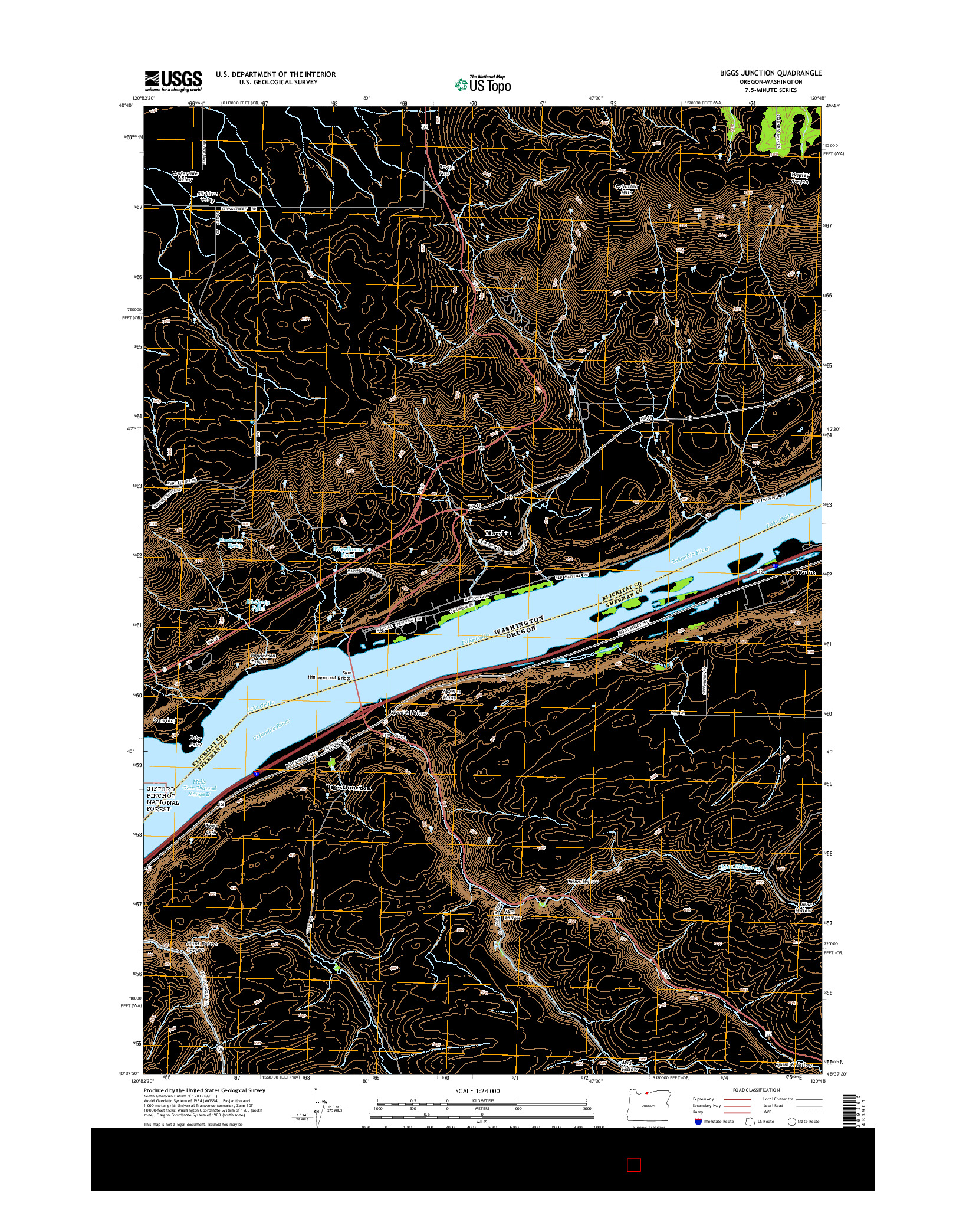 USGS US TOPO 7.5-MINUTE MAP FOR BIGGS JUNCTION, OR-WA 2014