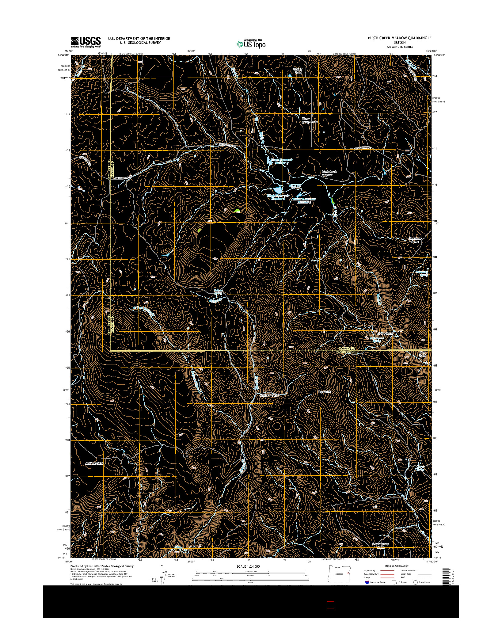 USGS US TOPO 7.5-MINUTE MAP FOR BIRCH CREEK MEADOW, OR 2014