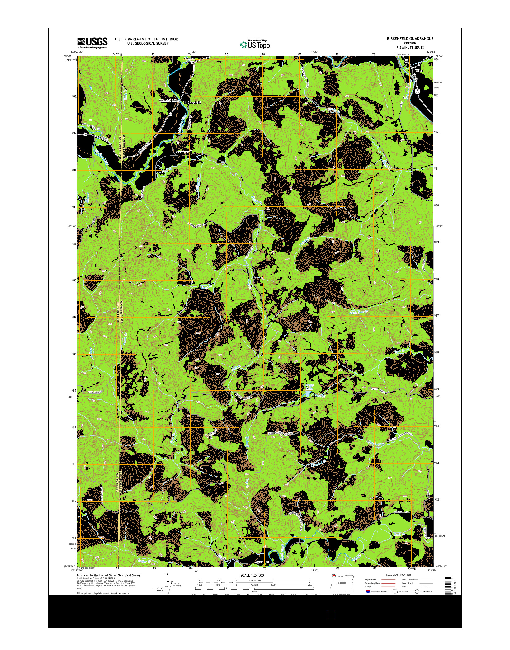 USGS US TOPO 7.5-MINUTE MAP FOR BIRKENFELD, OR 2014