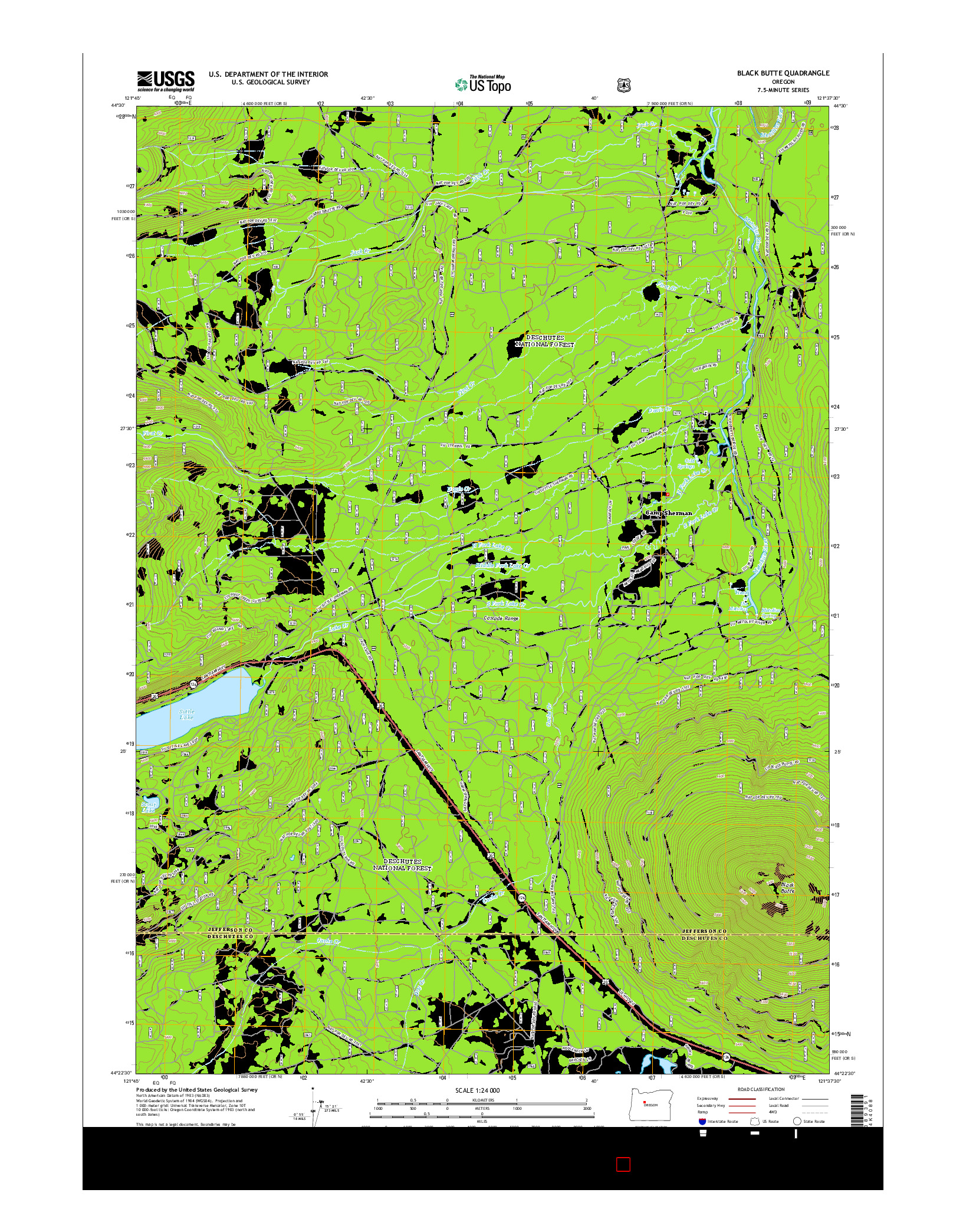 USGS US TOPO 7.5-MINUTE MAP FOR BLACK BUTTE, OR 2014
