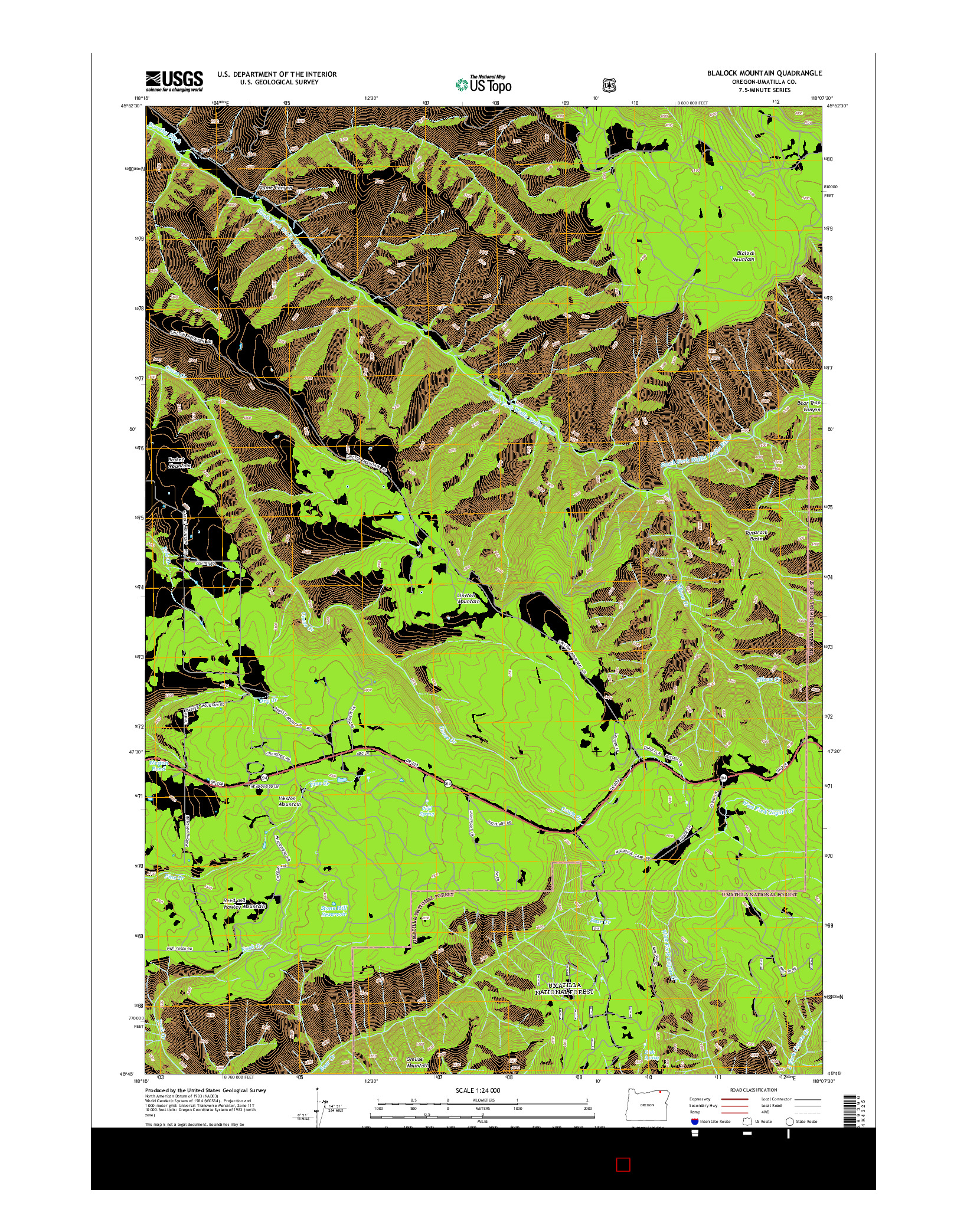 USGS US TOPO 7.5-MINUTE MAP FOR BLALOCK MOUNTAIN, OR 2014