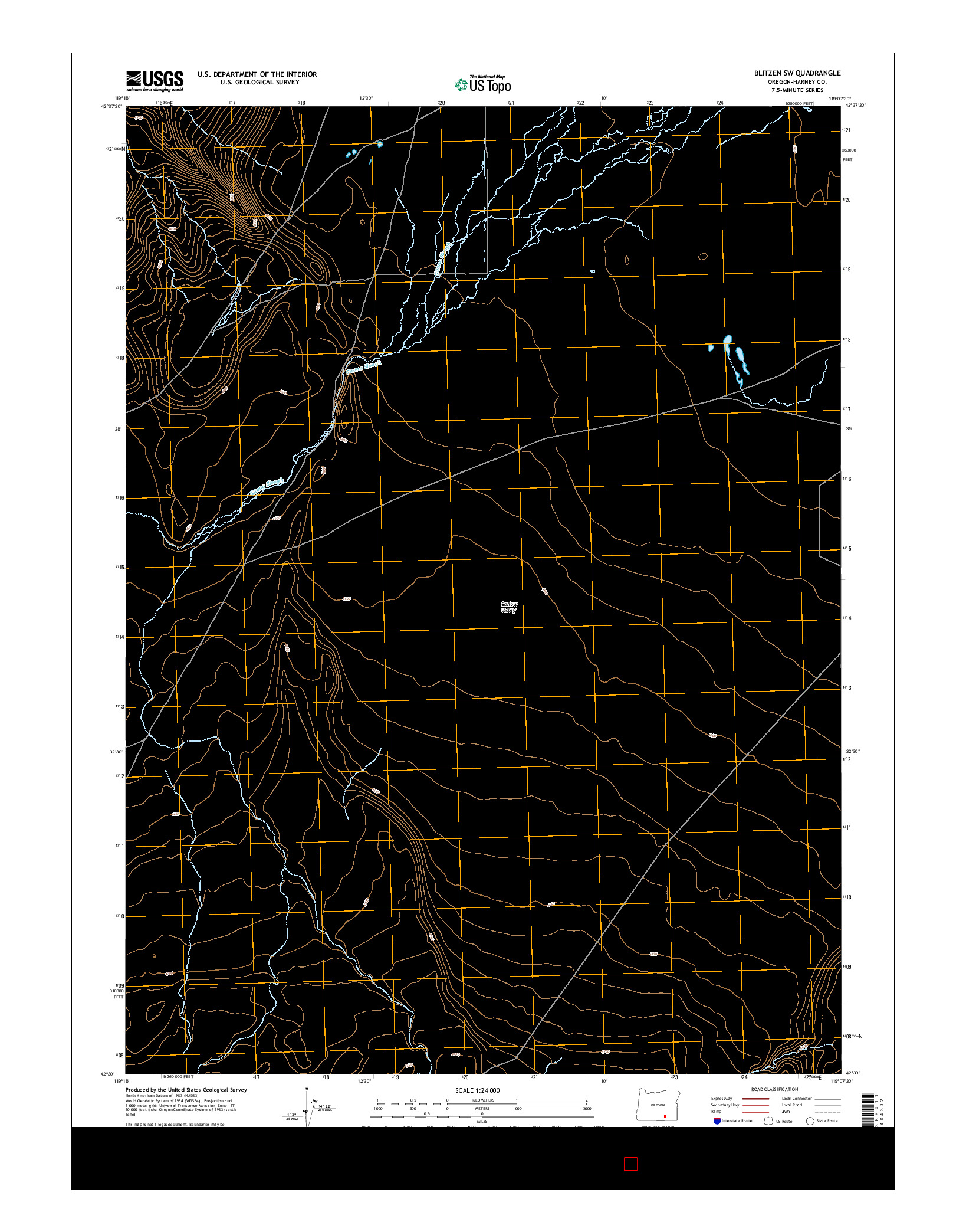 USGS US TOPO 7.5-MINUTE MAP FOR BLITZEN SW, OR 2014