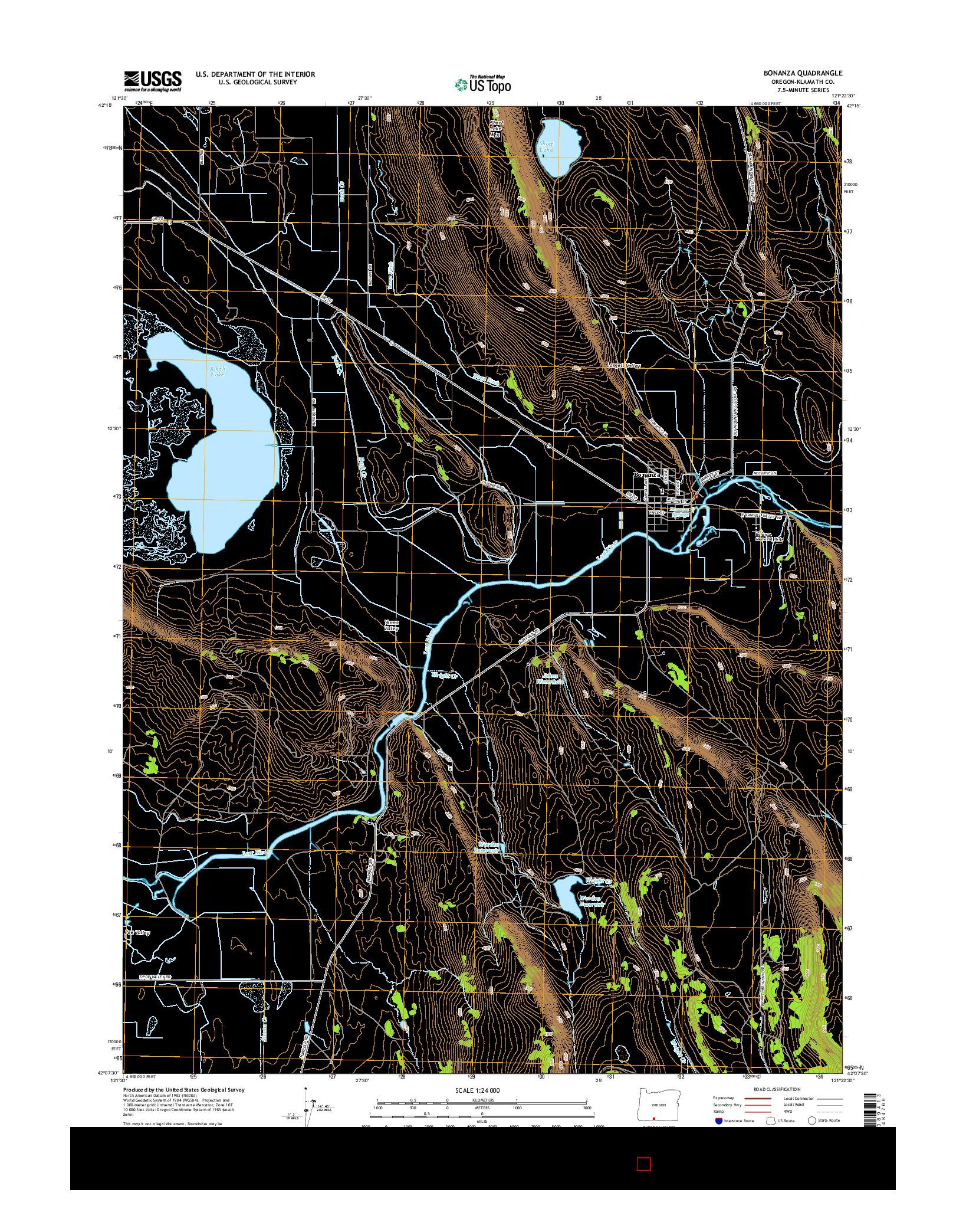 USGS US TOPO 7.5-MINUTE MAP FOR BONANZA, OR 2014