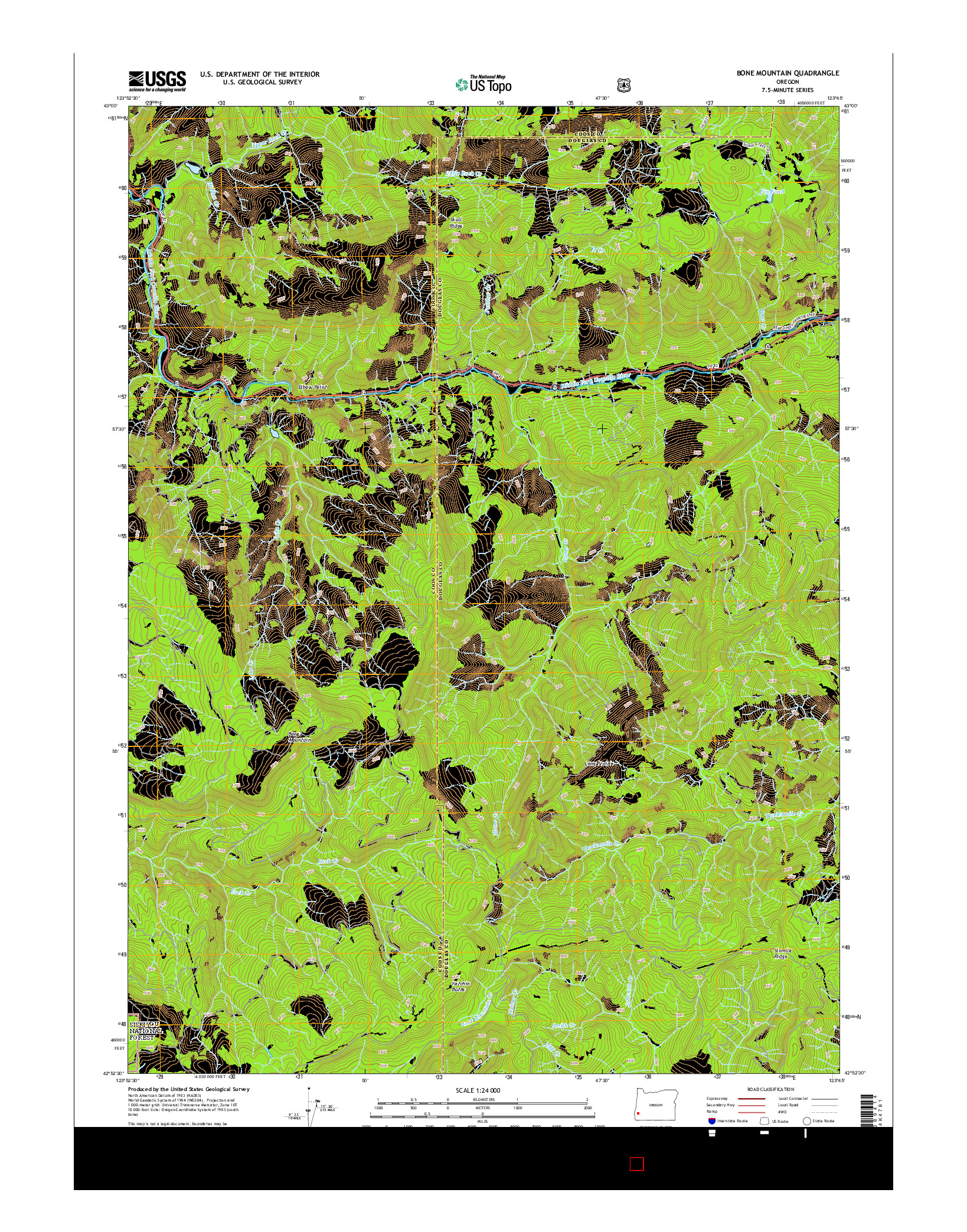 USGS US TOPO 7.5-MINUTE MAP FOR BONE MOUNTAIN, OR 2014