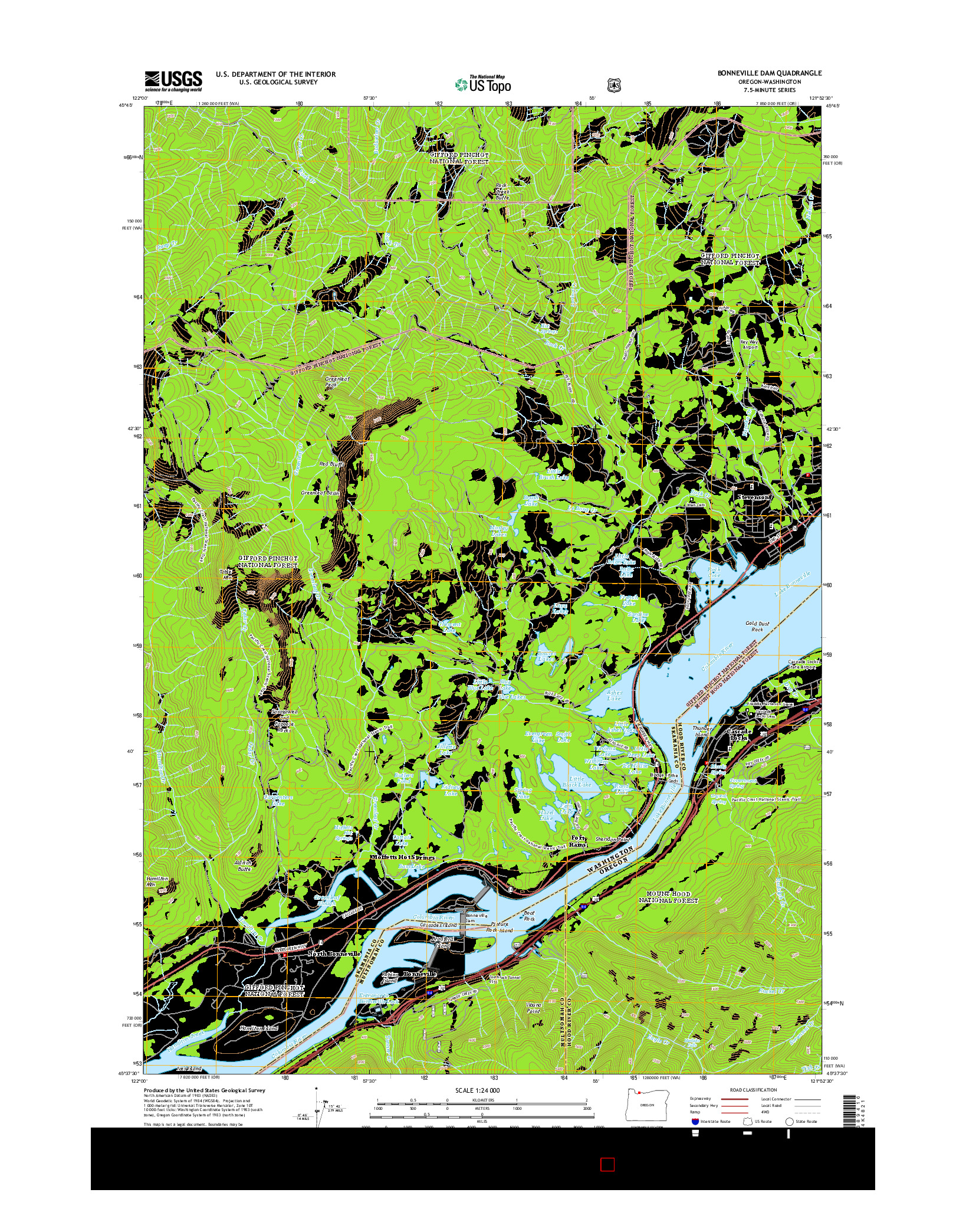USGS US TOPO 7.5-MINUTE MAP FOR BONNEVILLE DAM, OR-WA 2014