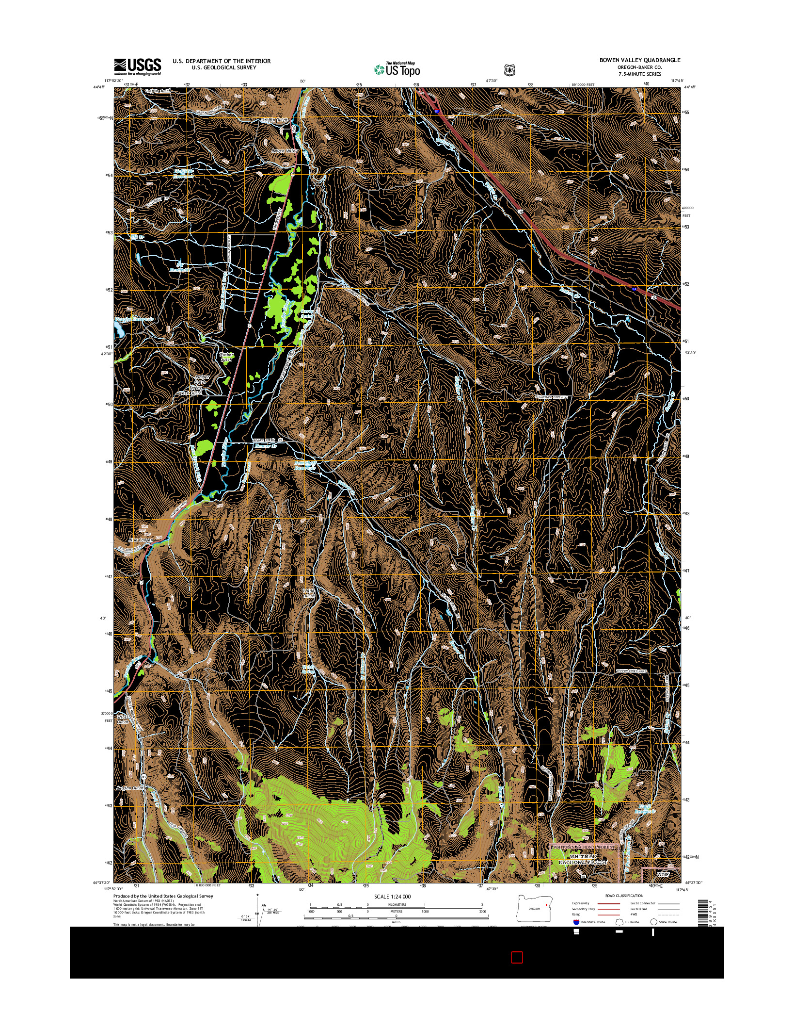 USGS US TOPO 7.5-MINUTE MAP FOR BOWEN VALLEY, OR 2014