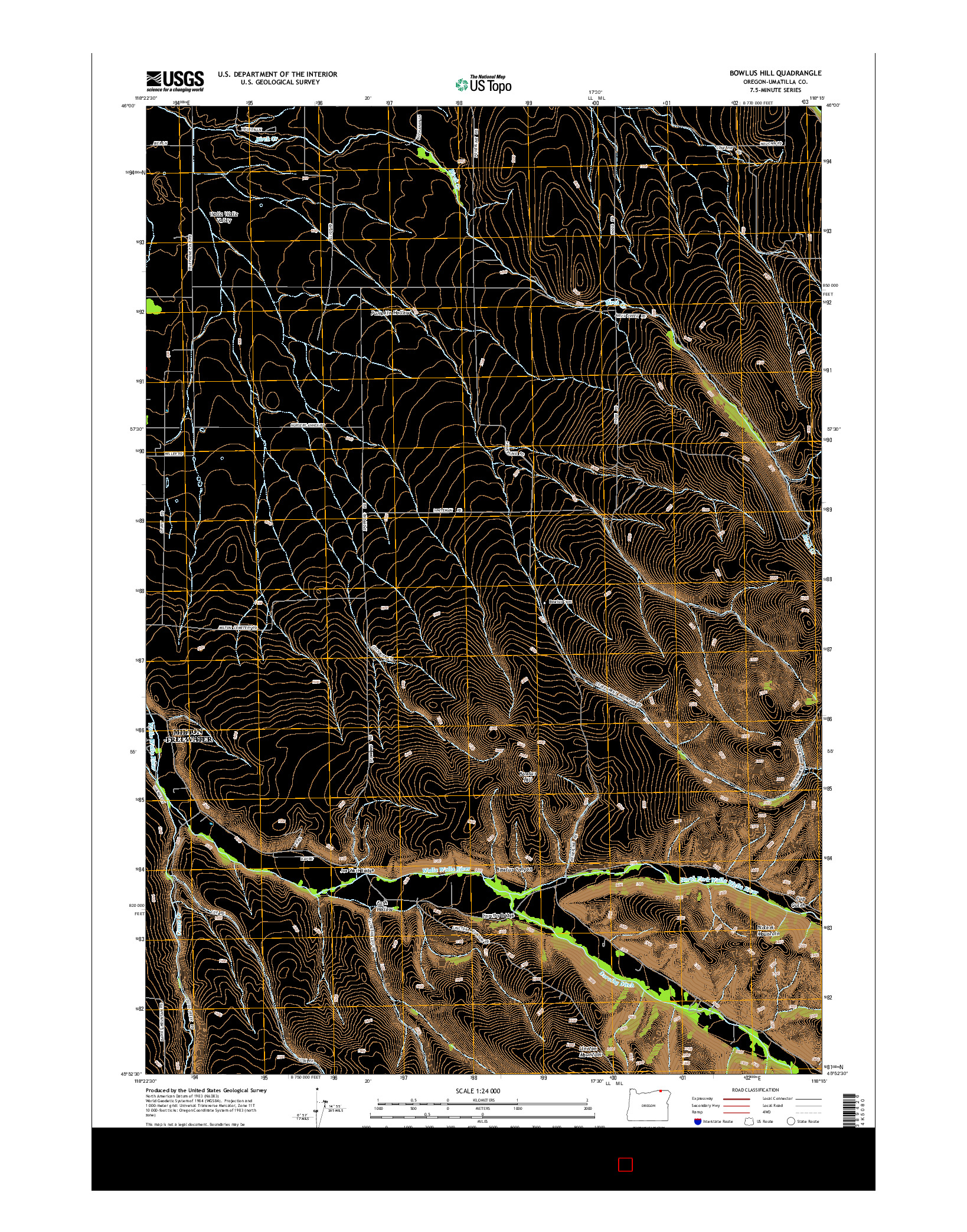 USGS US TOPO 7.5-MINUTE MAP FOR BOWLUS HILL, OR 2014