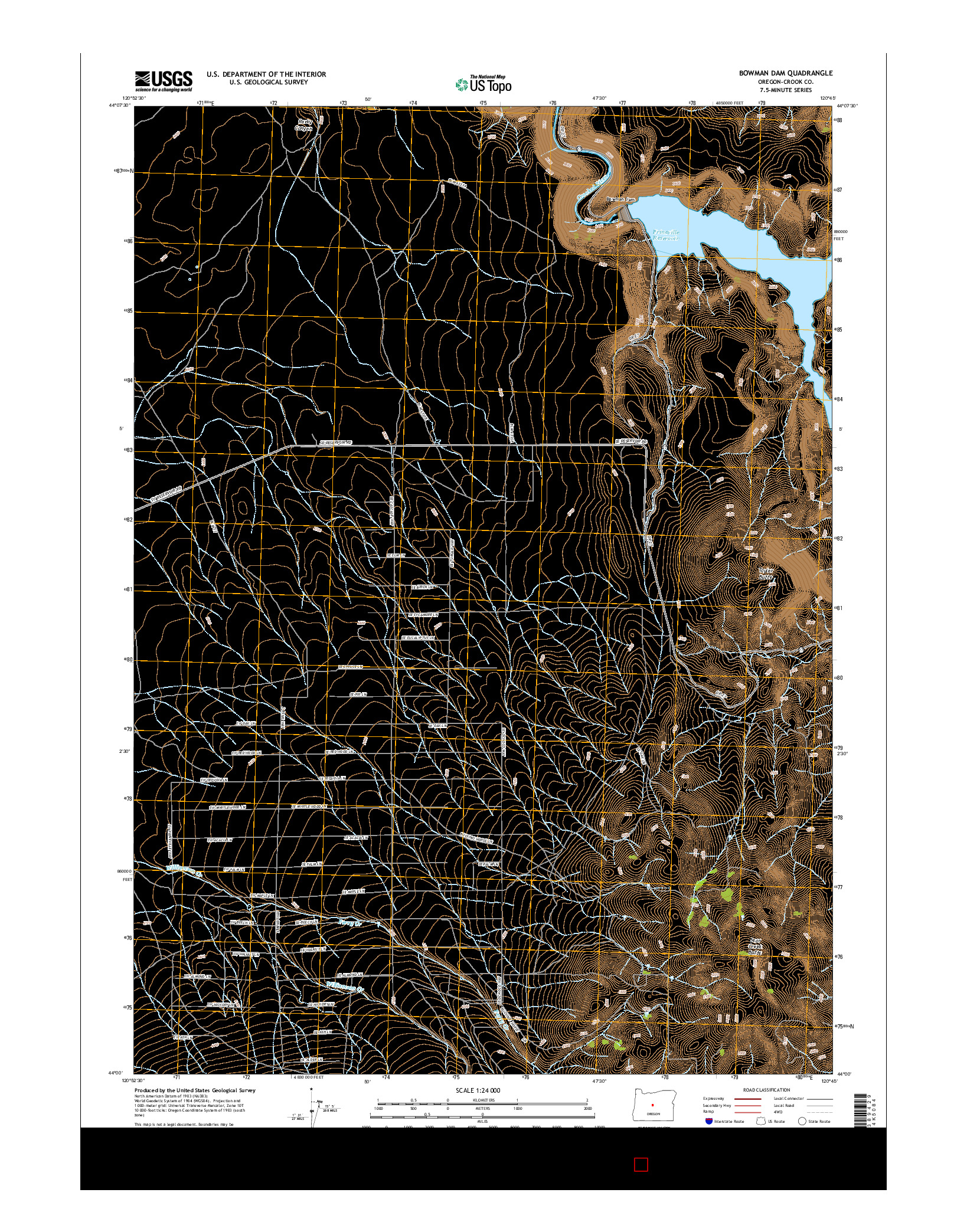 USGS US TOPO 7.5-MINUTE MAP FOR BOWMAN DAM, OR 2014