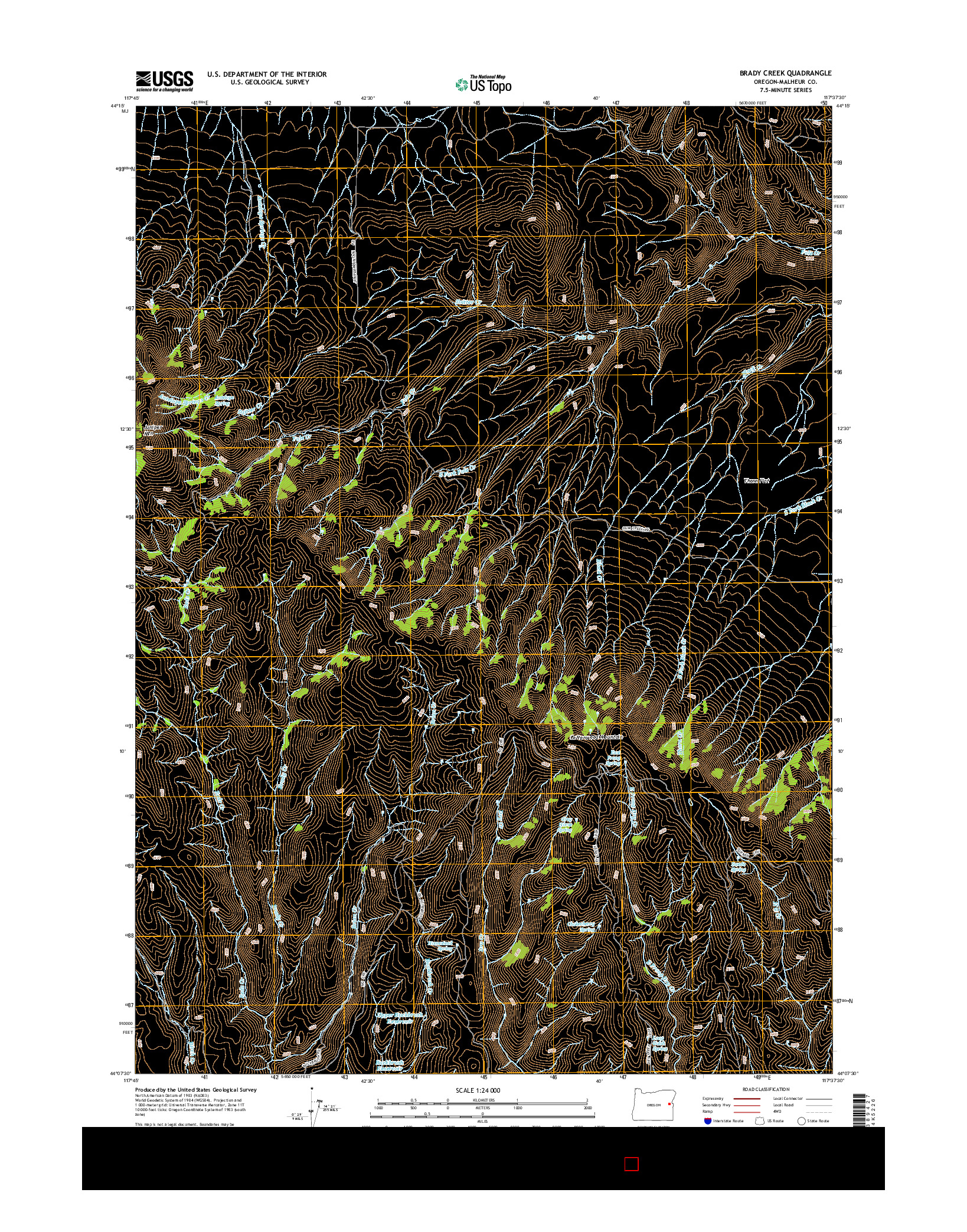USGS US TOPO 7.5-MINUTE MAP FOR BRADY CREEK, OR 2014