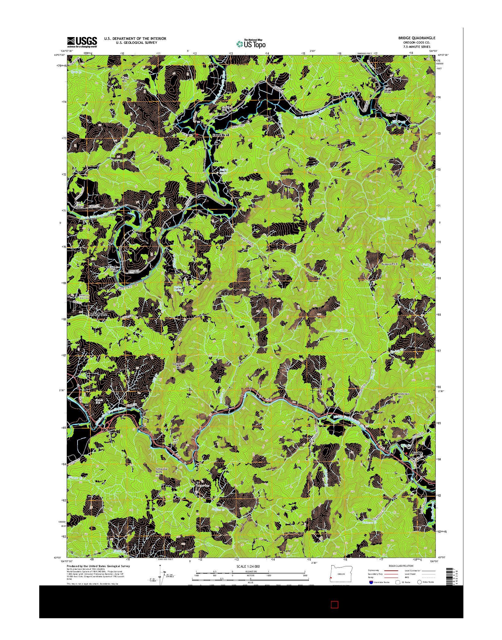 USGS US TOPO 7.5-MINUTE MAP FOR BRIDGE, OR 2014