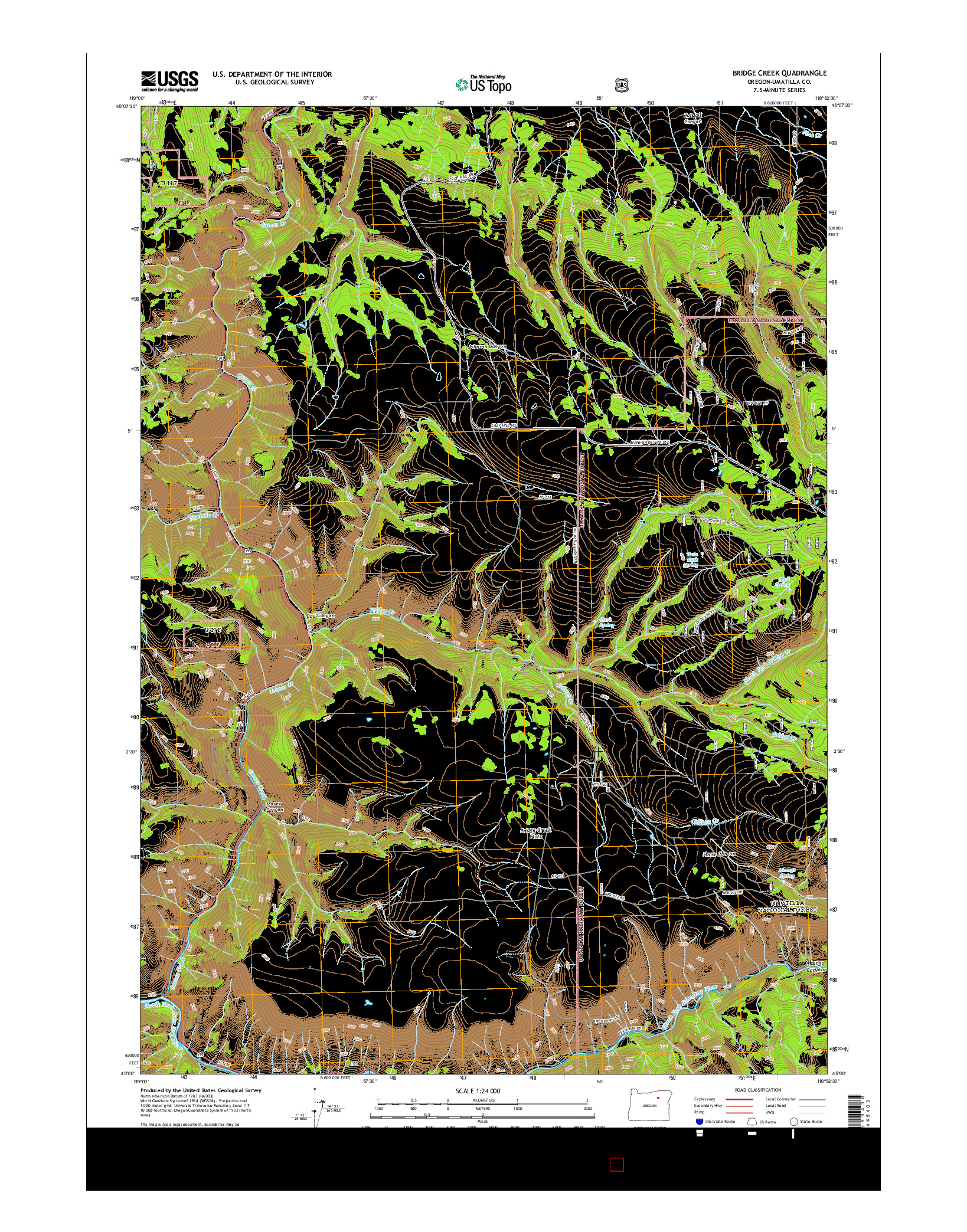 USGS US TOPO 7.5-MINUTE MAP FOR BRIDGE CREEK, OR 2014