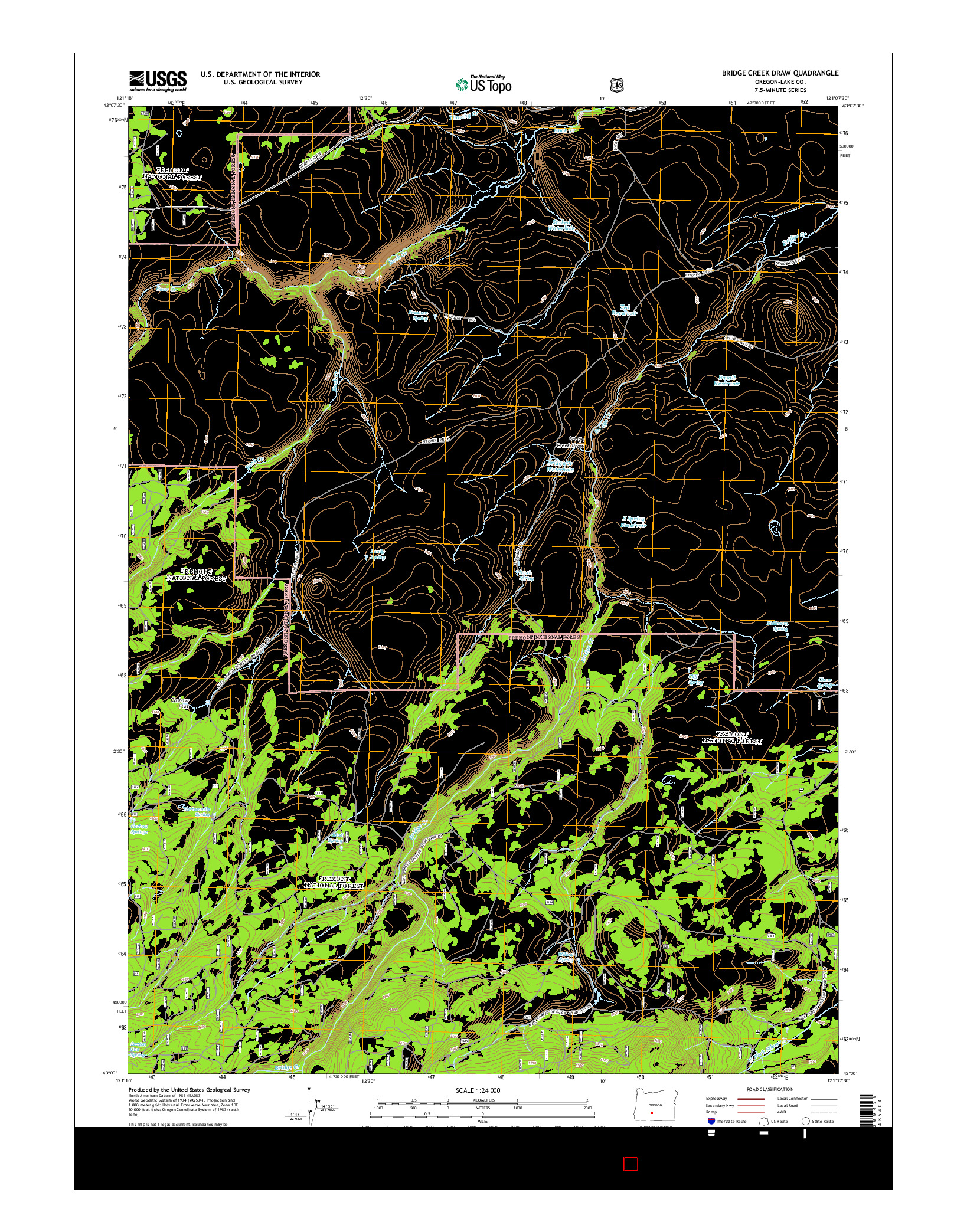 USGS US TOPO 7.5-MINUTE MAP FOR BRIDGE CREEK DRAW, OR 2014