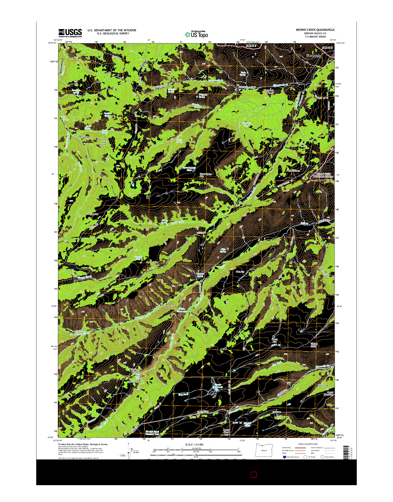 USGS US TOPO 7.5-MINUTE MAP FOR BROWN CREEK, OR 2014