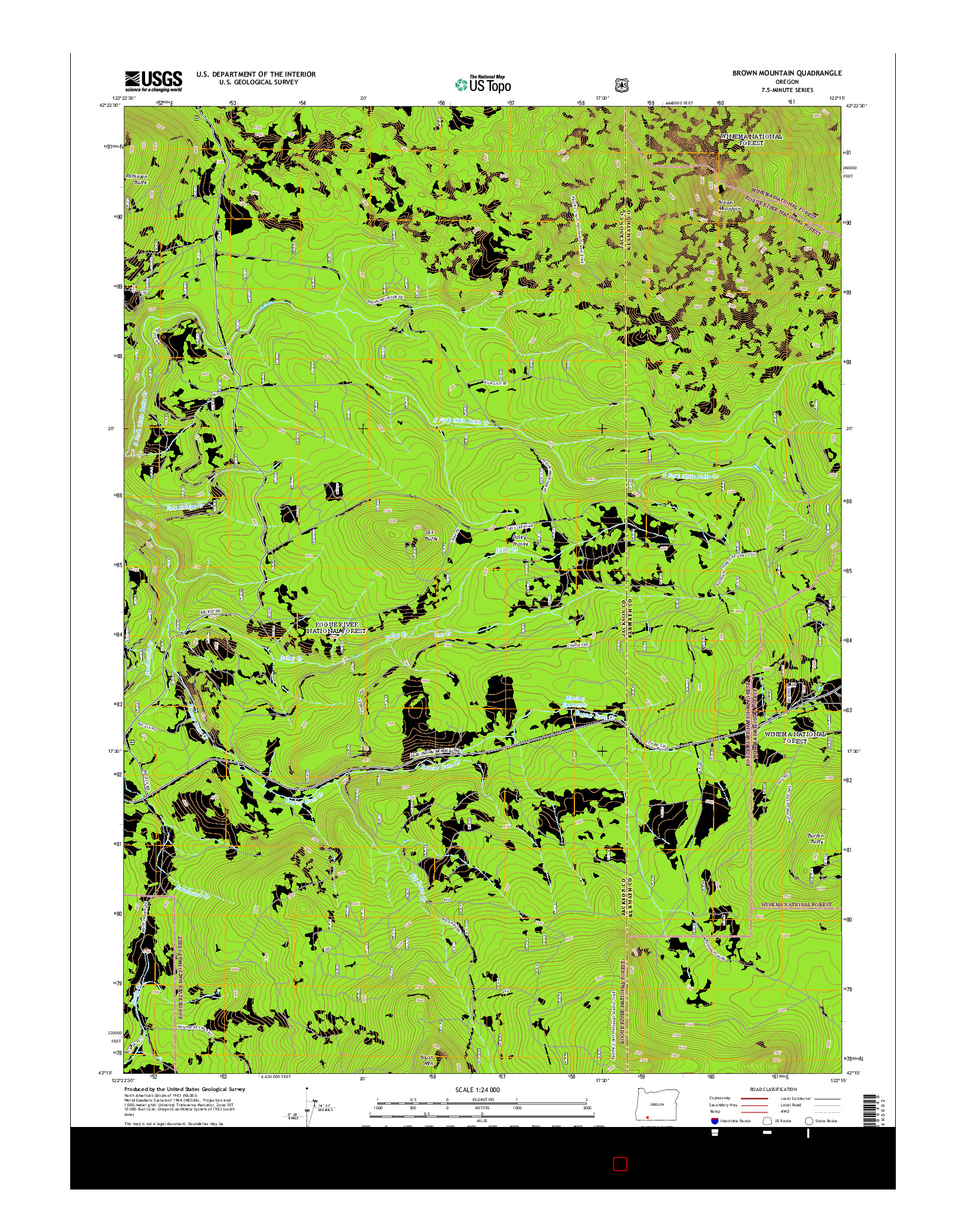 USGS US TOPO 7.5-MINUTE MAP FOR BROWN MOUNTAIN, OR 2014