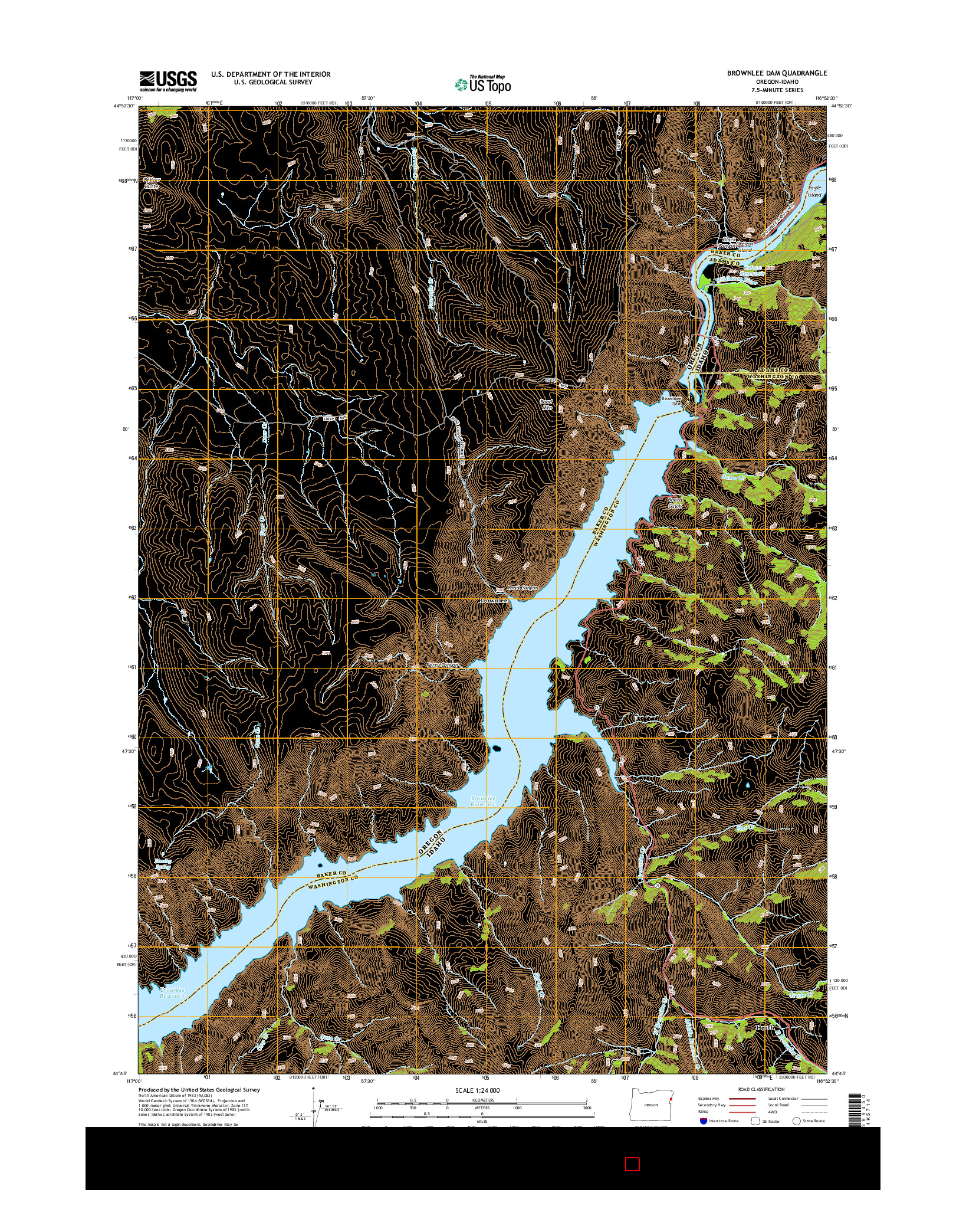 USGS US TOPO 7.5-MINUTE MAP FOR BROWNLEE DAM, OR-ID 2014