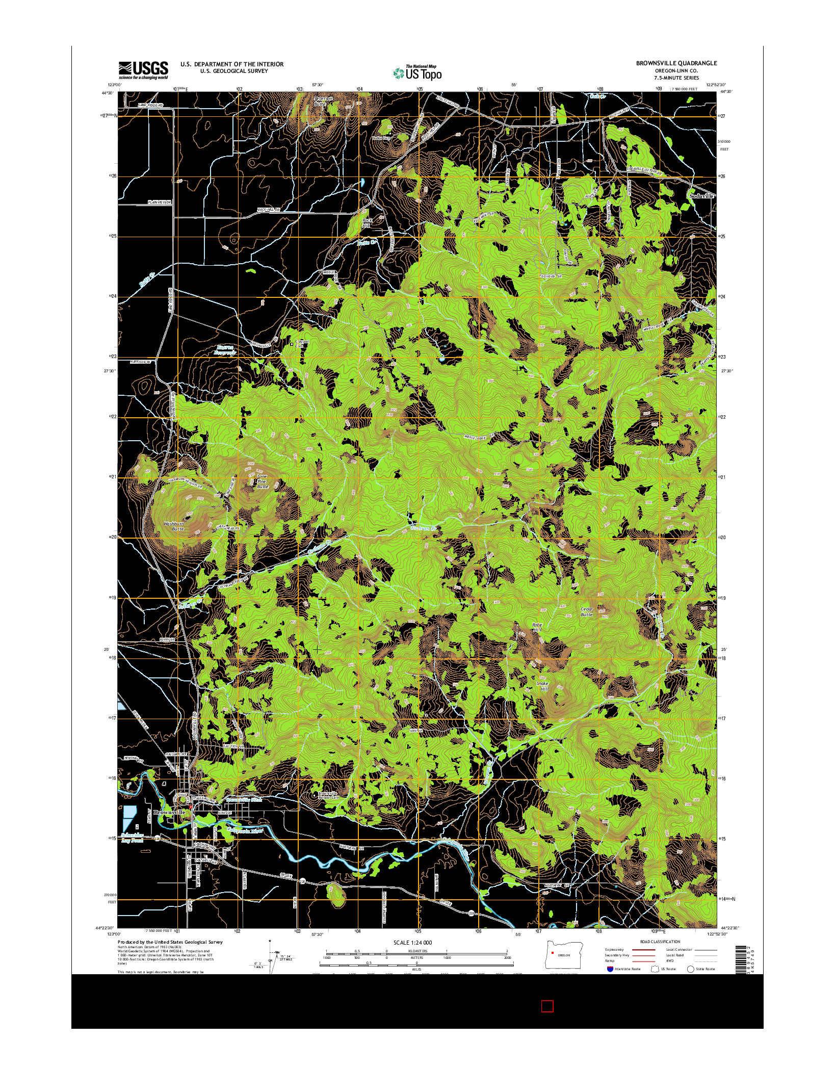 USGS US TOPO 7.5-MINUTE MAP FOR BROWNSVILLE, OR 2014