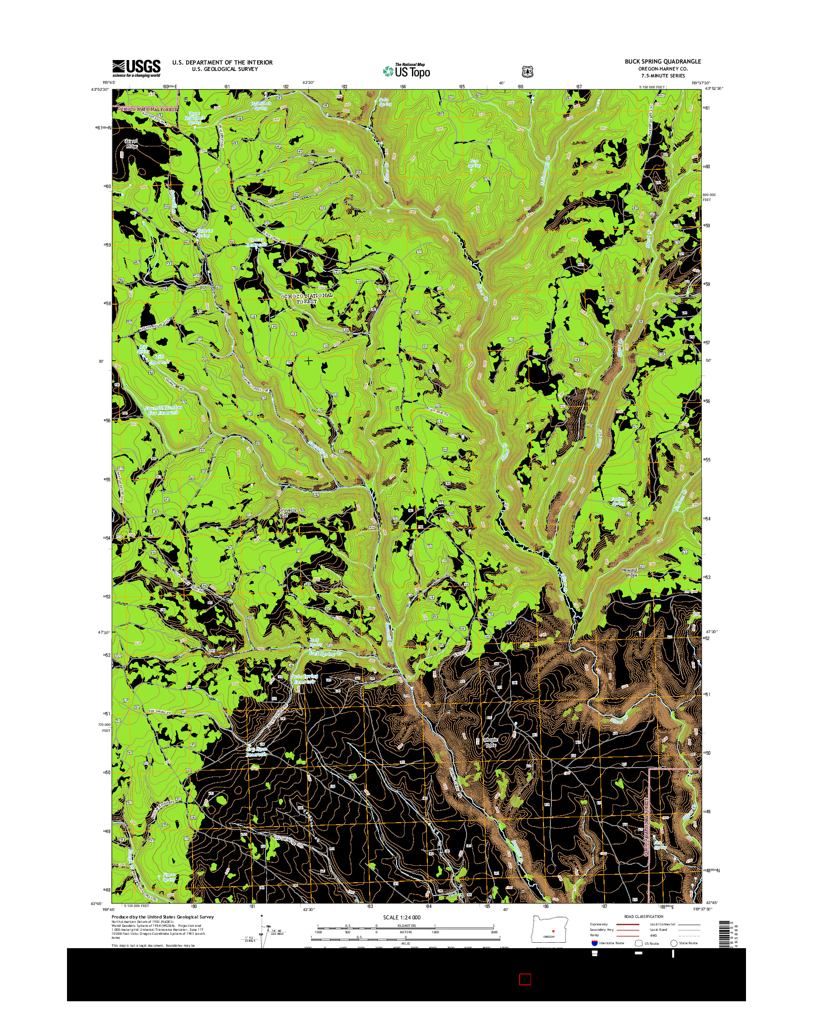 USGS US TOPO 7.5-MINUTE MAP FOR BUCK SPRING, OR 2014