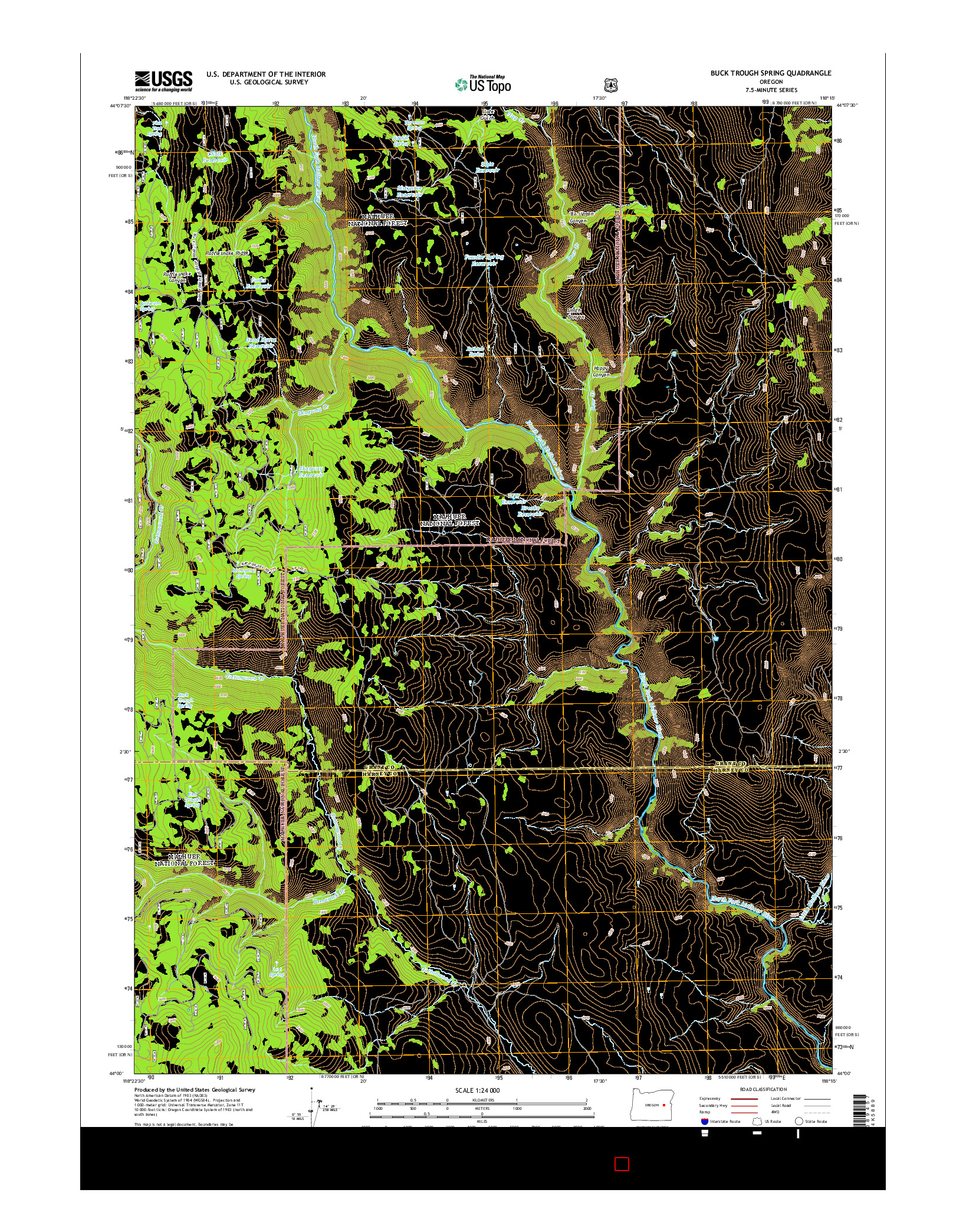 USGS US TOPO 7.5-MINUTE MAP FOR BUCK TROUGH SPRING, OR 2014