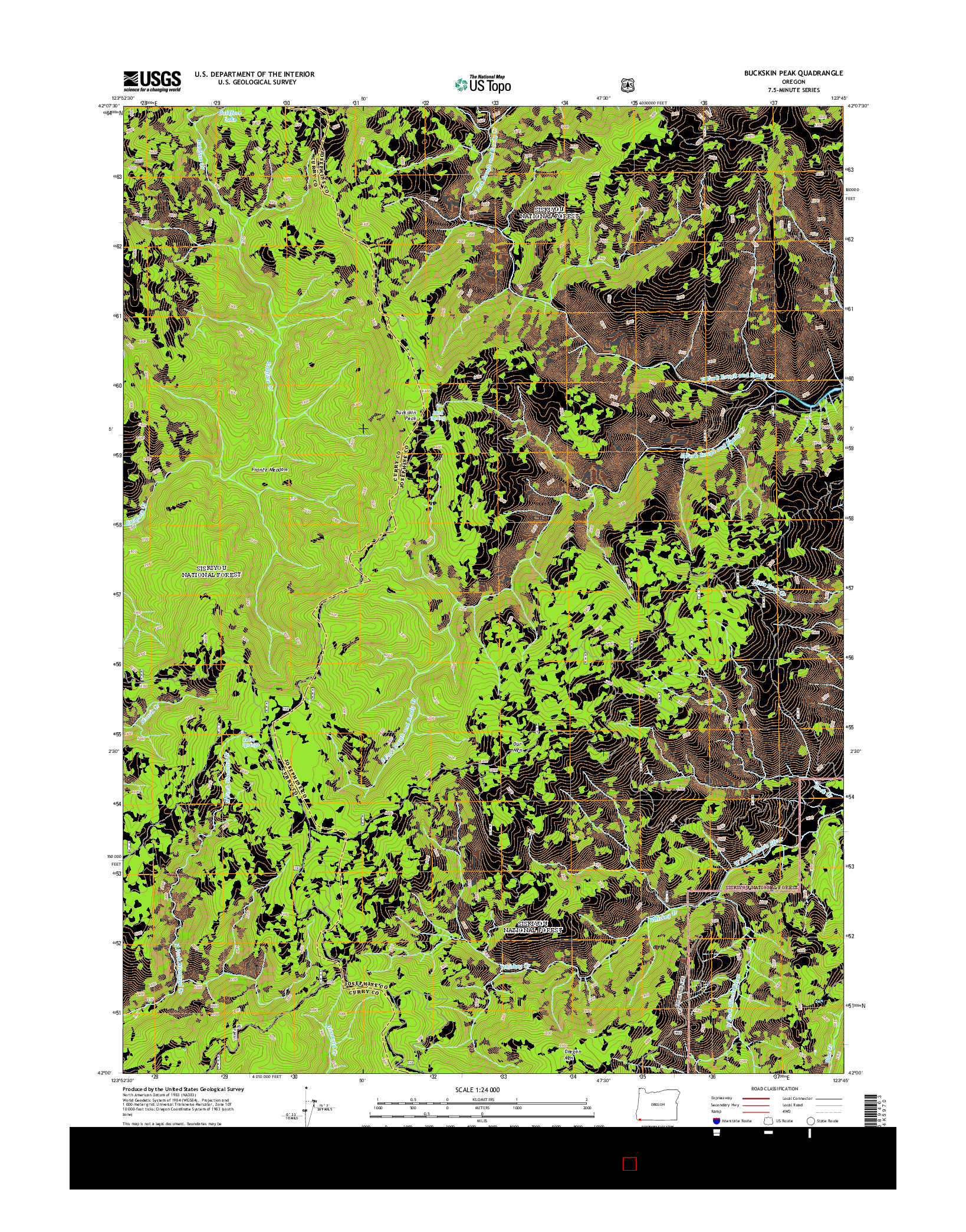 USGS US TOPO 7.5-MINUTE MAP FOR BUCKSKIN PEAK, OR 2014
