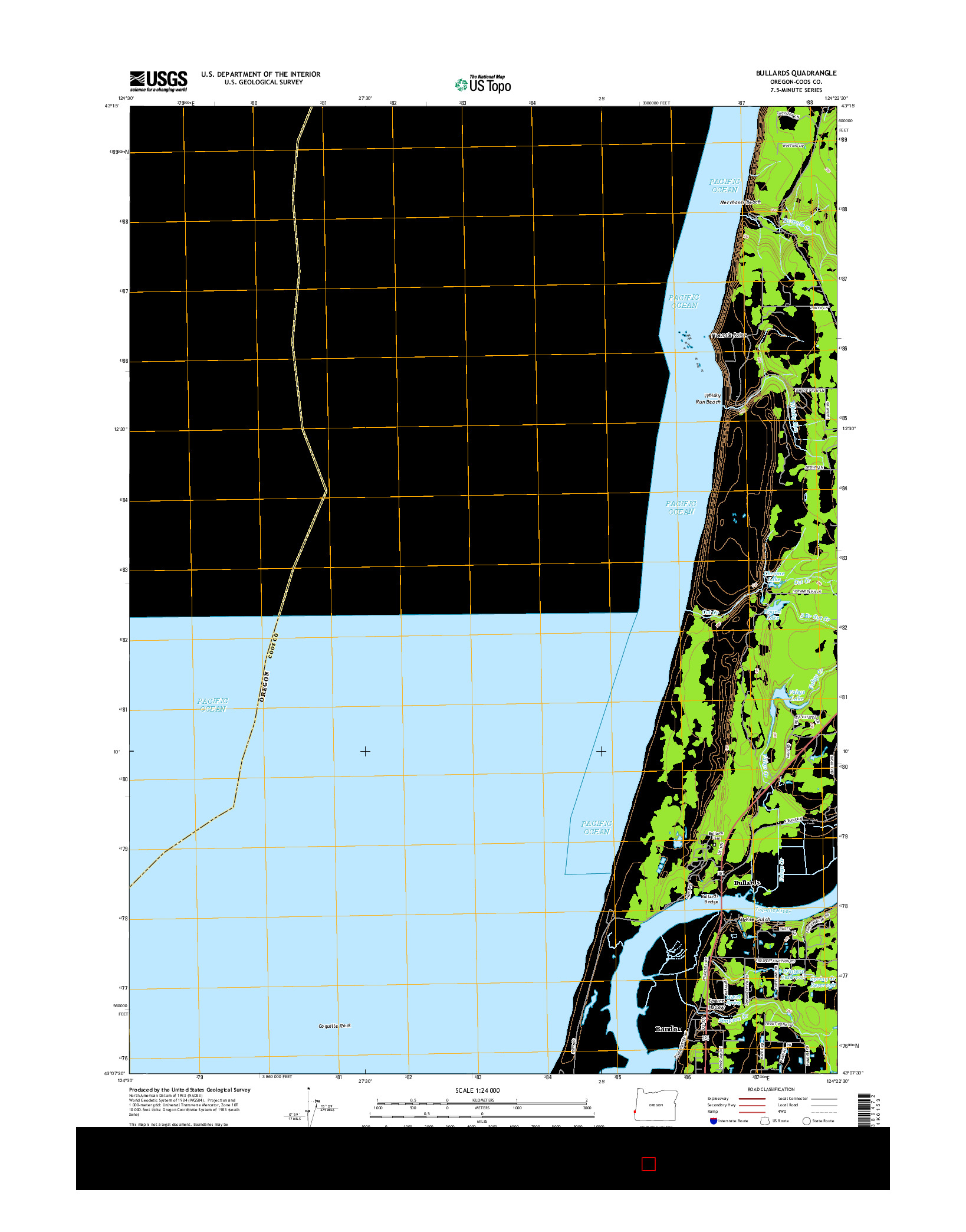 USGS US TOPO 7.5-MINUTE MAP FOR BULLARDS, OR 2014