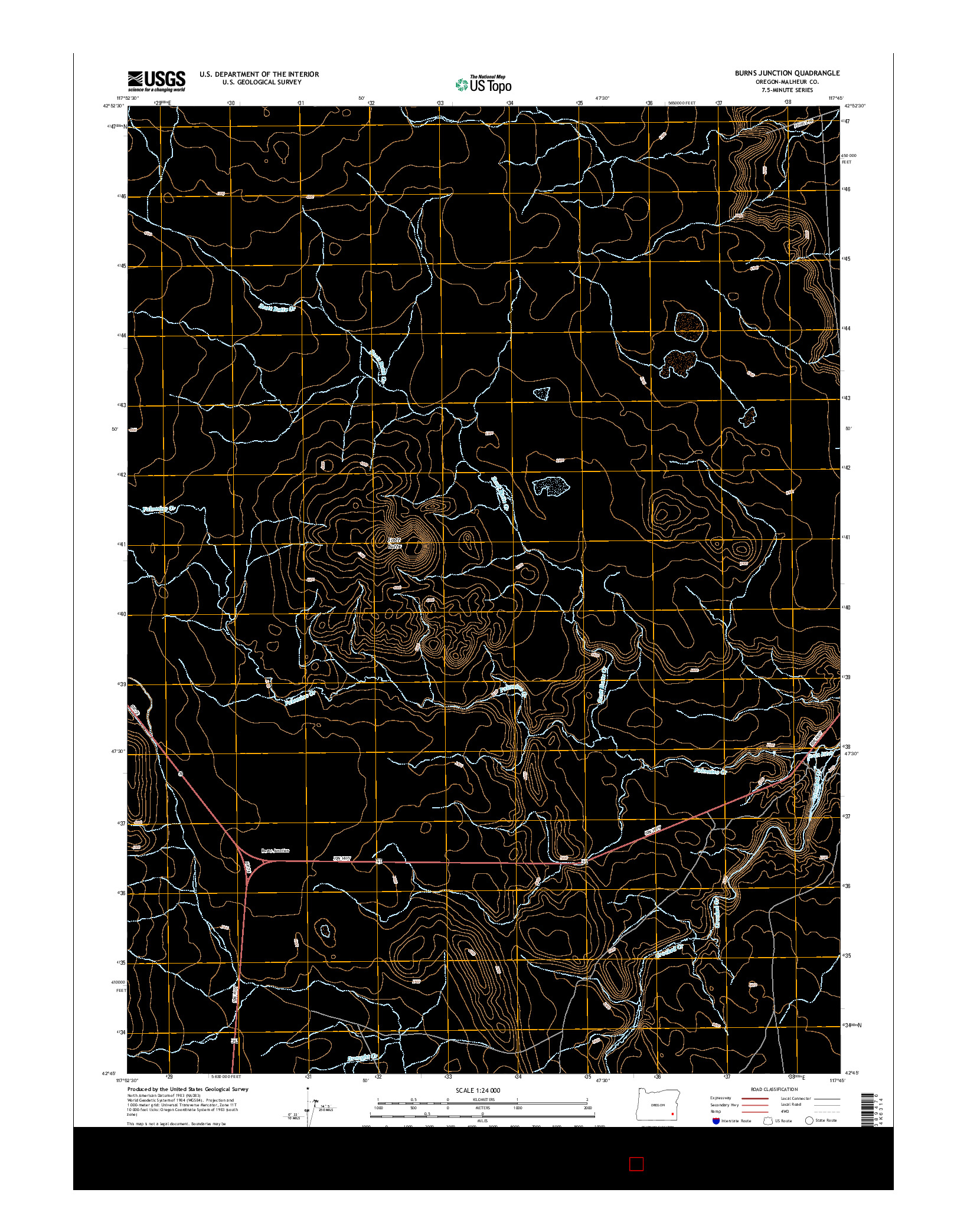 USGS US TOPO 7.5-MINUTE MAP FOR BURNS JUNCTION, OR 2014