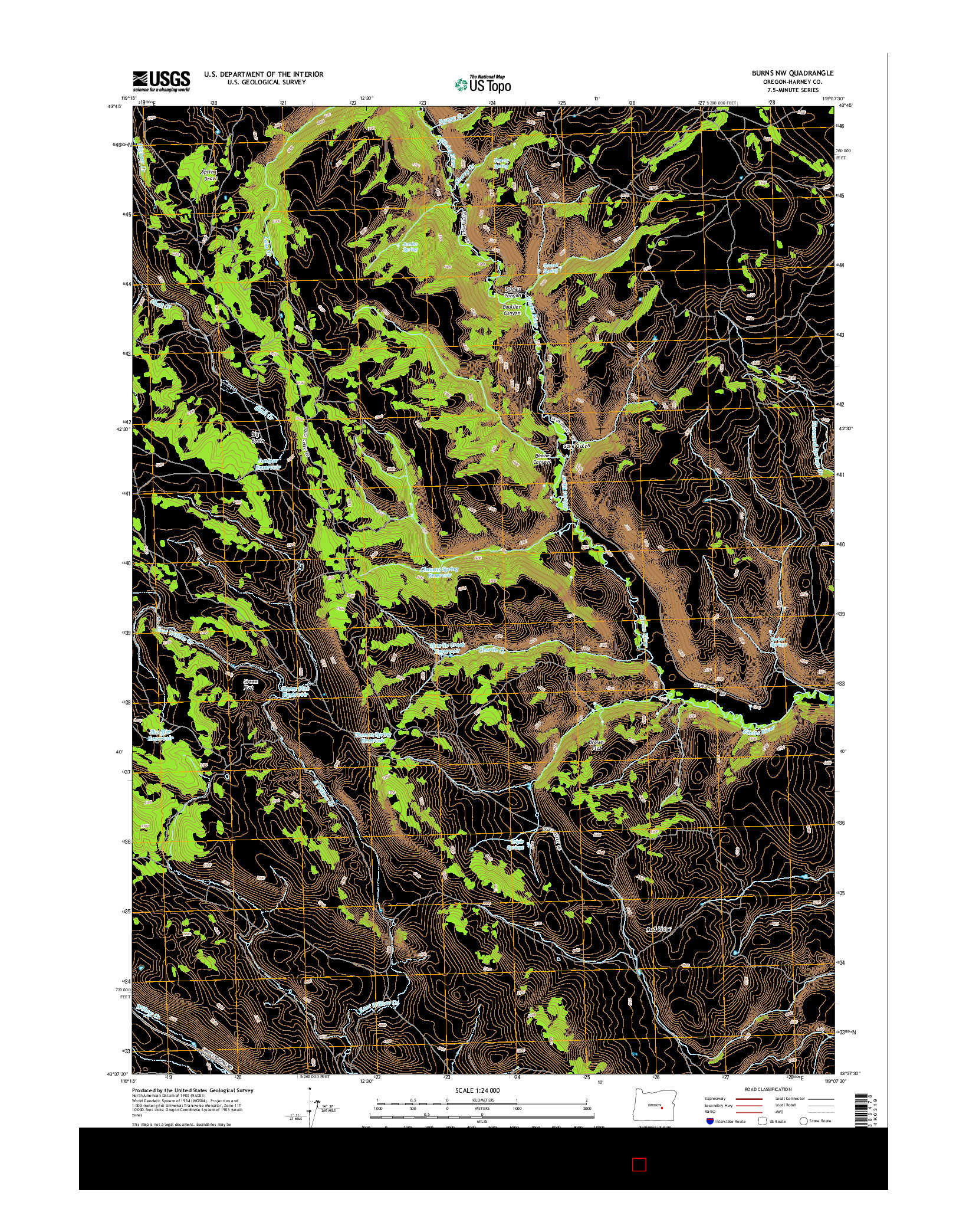 USGS US TOPO 7.5-MINUTE MAP FOR BURNS NW, OR 2014