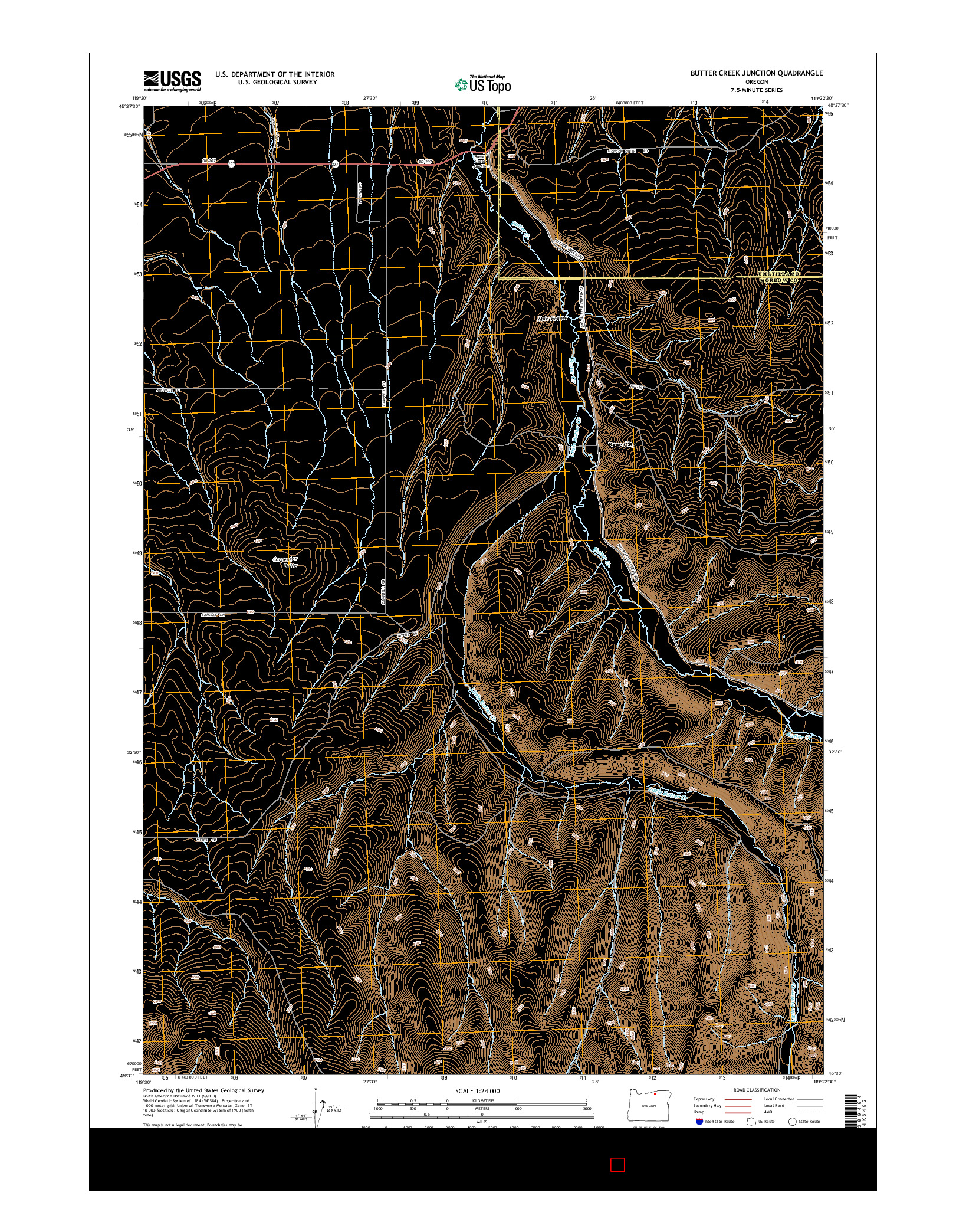 USGS US TOPO 7.5-MINUTE MAP FOR BUTTER CREEK JUNCTION, OR 2014