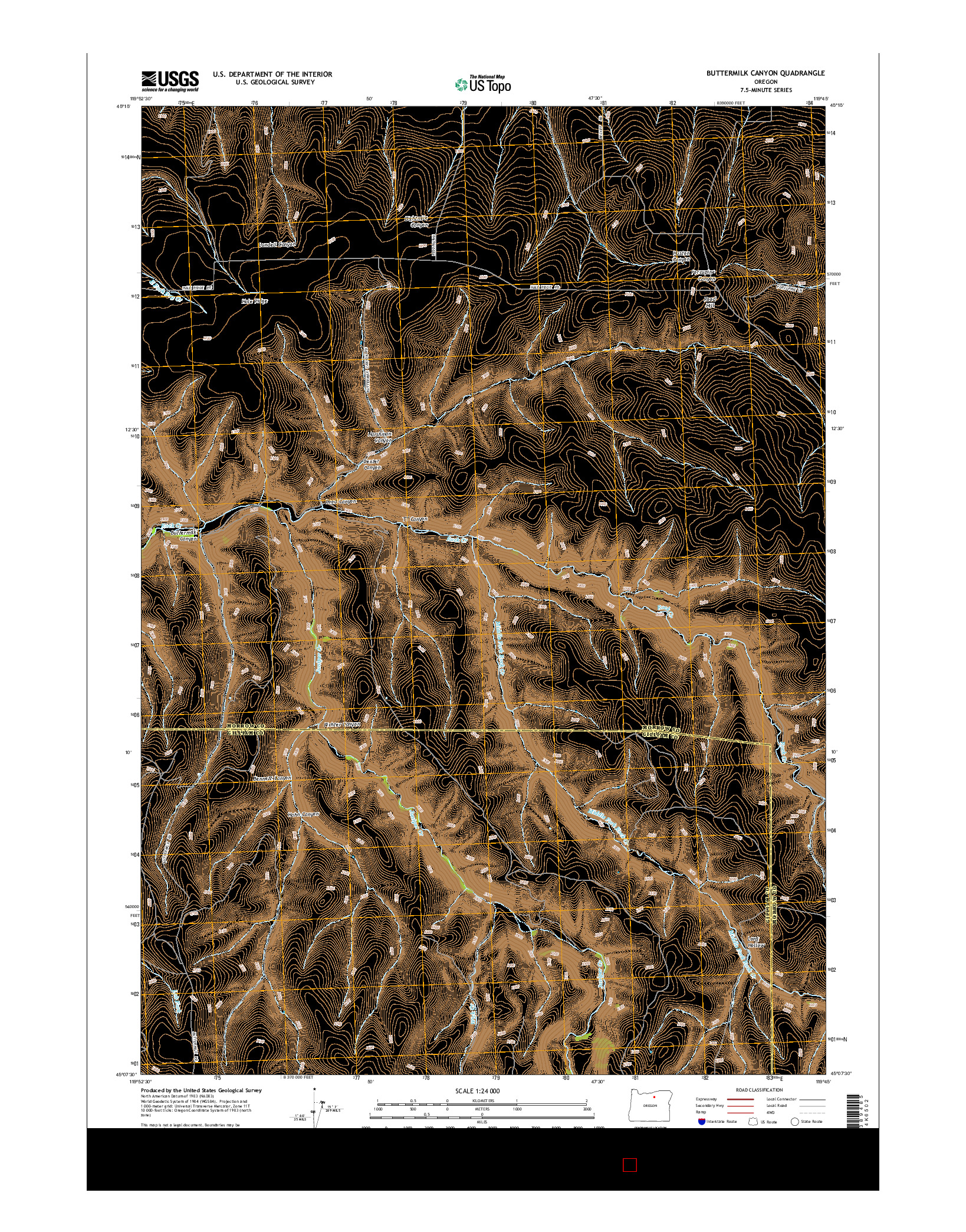 USGS US TOPO 7.5-MINUTE MAP FOR BUTTERMILK CANYON, OR 2014
