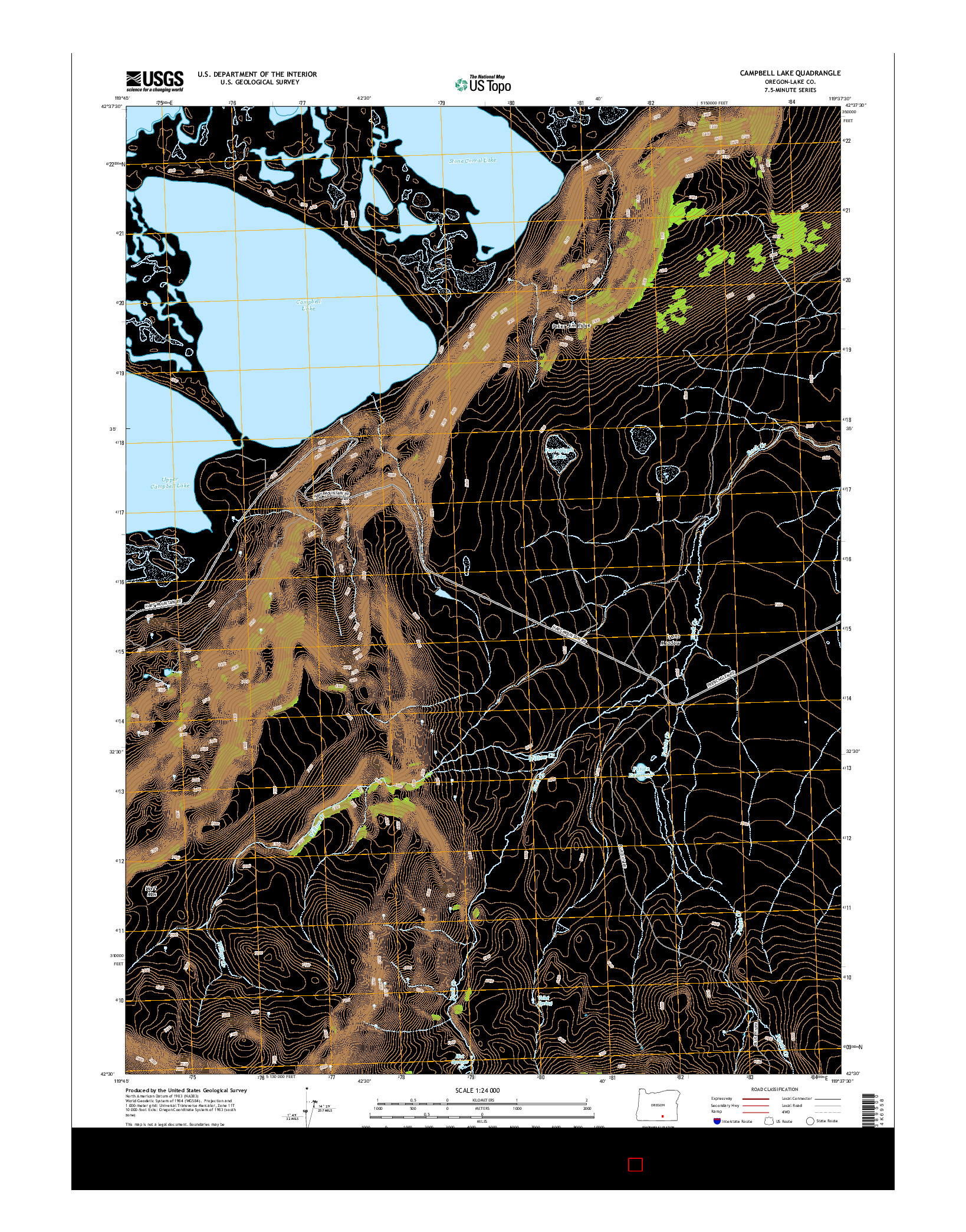 USGS US TOPO 7.5-MINUTE MAP FOR CAMPBELL LAKE, OR 2014