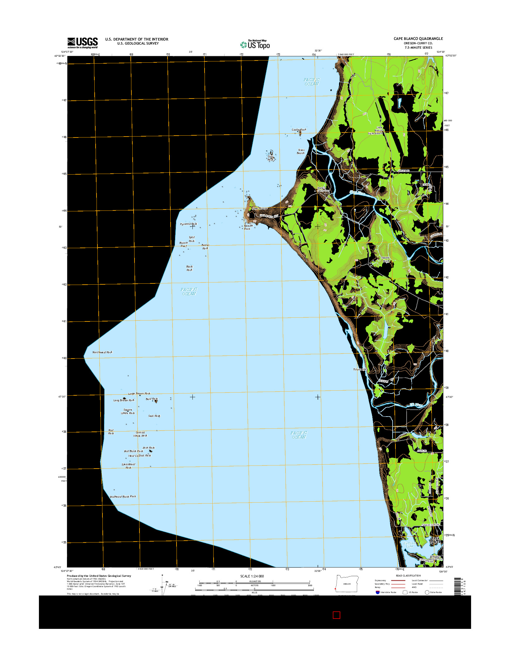 USGS US TOPO 7.5-MINUTE MAP FOR CAPE BLANCO, OR 2014