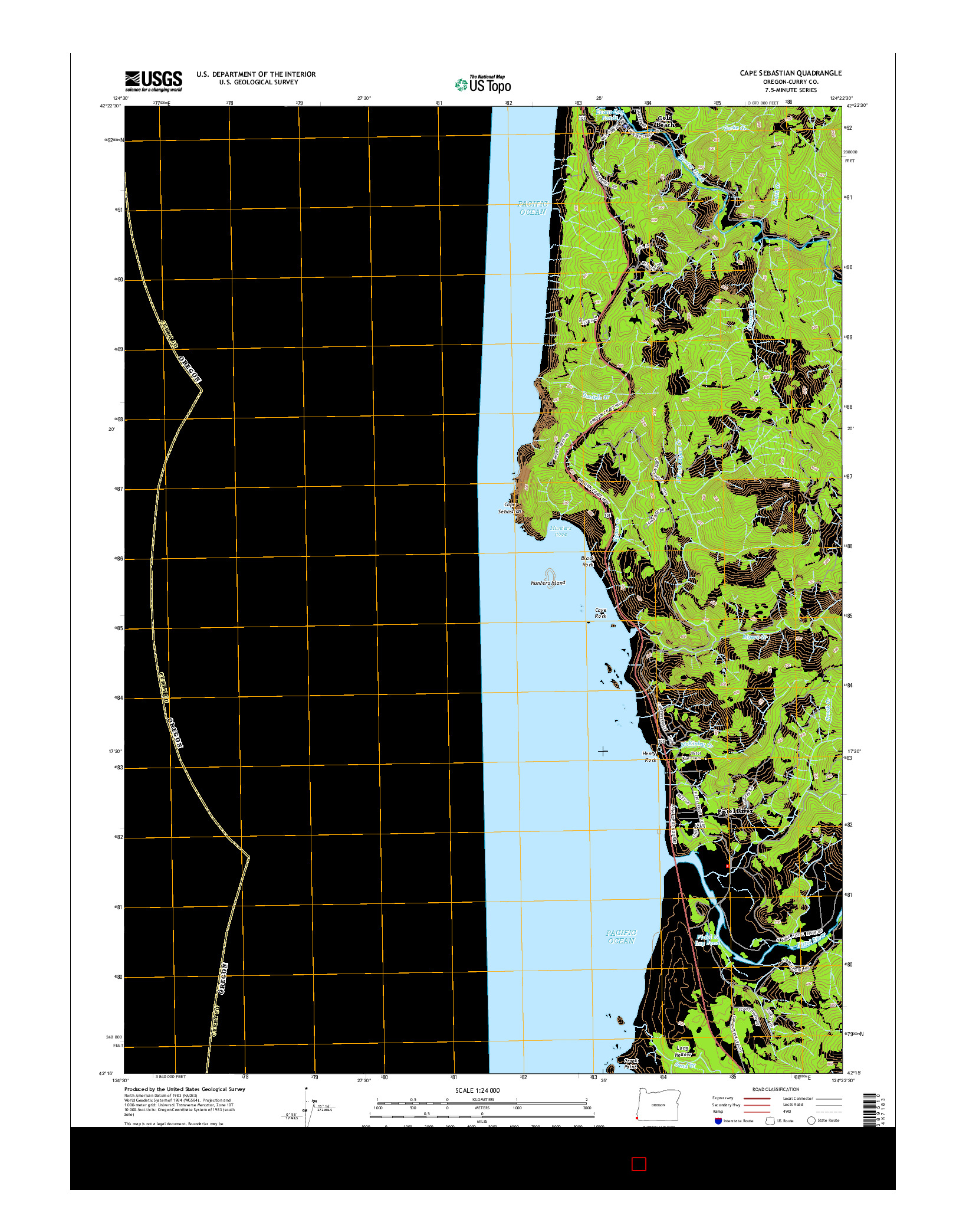USGS US TOPO 7.5-MINUTE MAP FOR CAPE SEBASTIAN, OR 2014