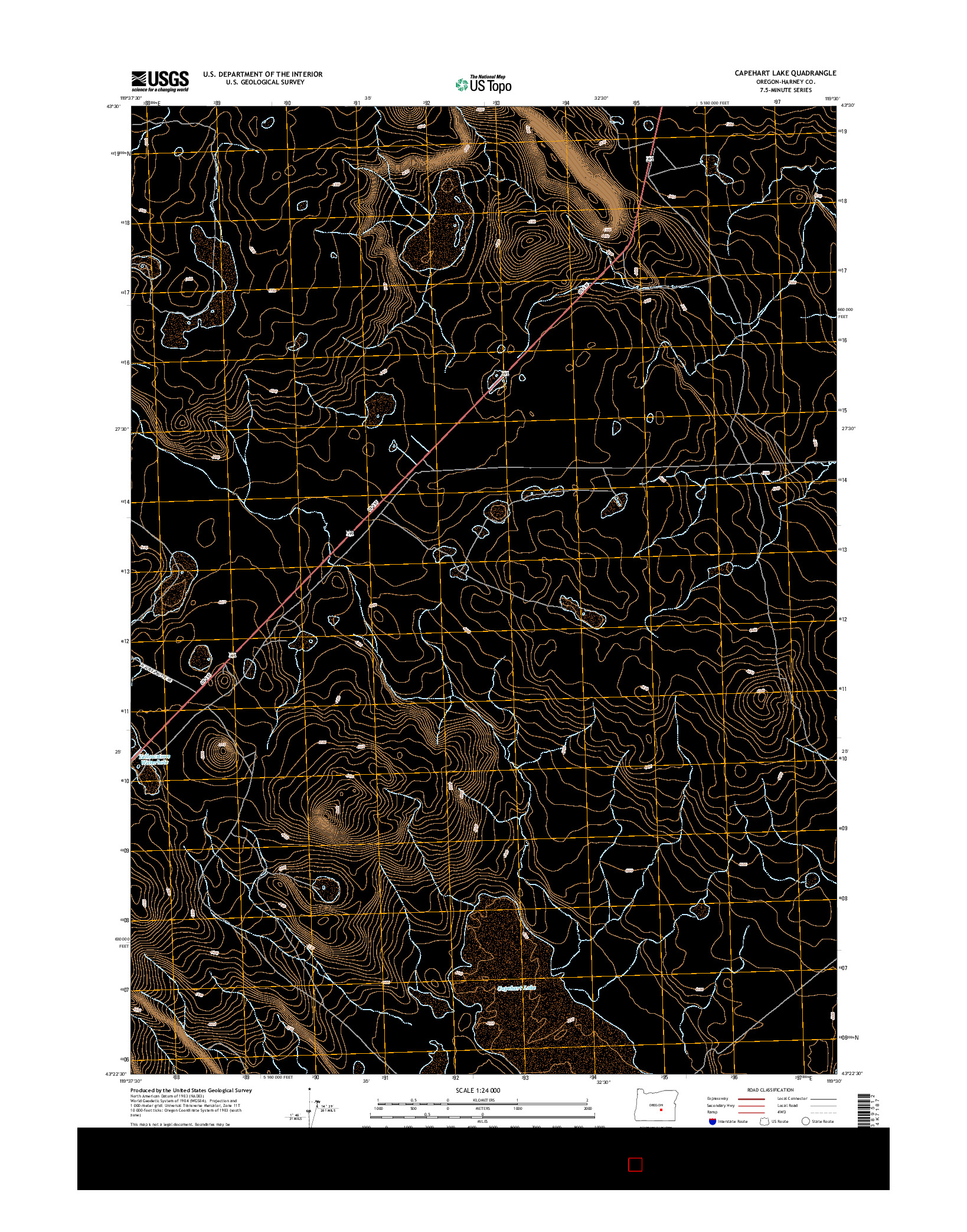 USGS US TOPO 7.5-MINUTE MAP FOR CAPEHART LAKE, OR 2014