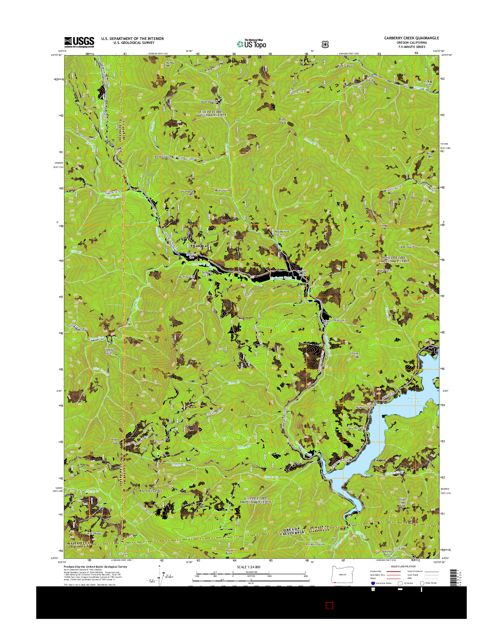 USGS US TOPO 7.5-MINUTE MAP FOR CARBERRY CREEK, OR-CA 2014