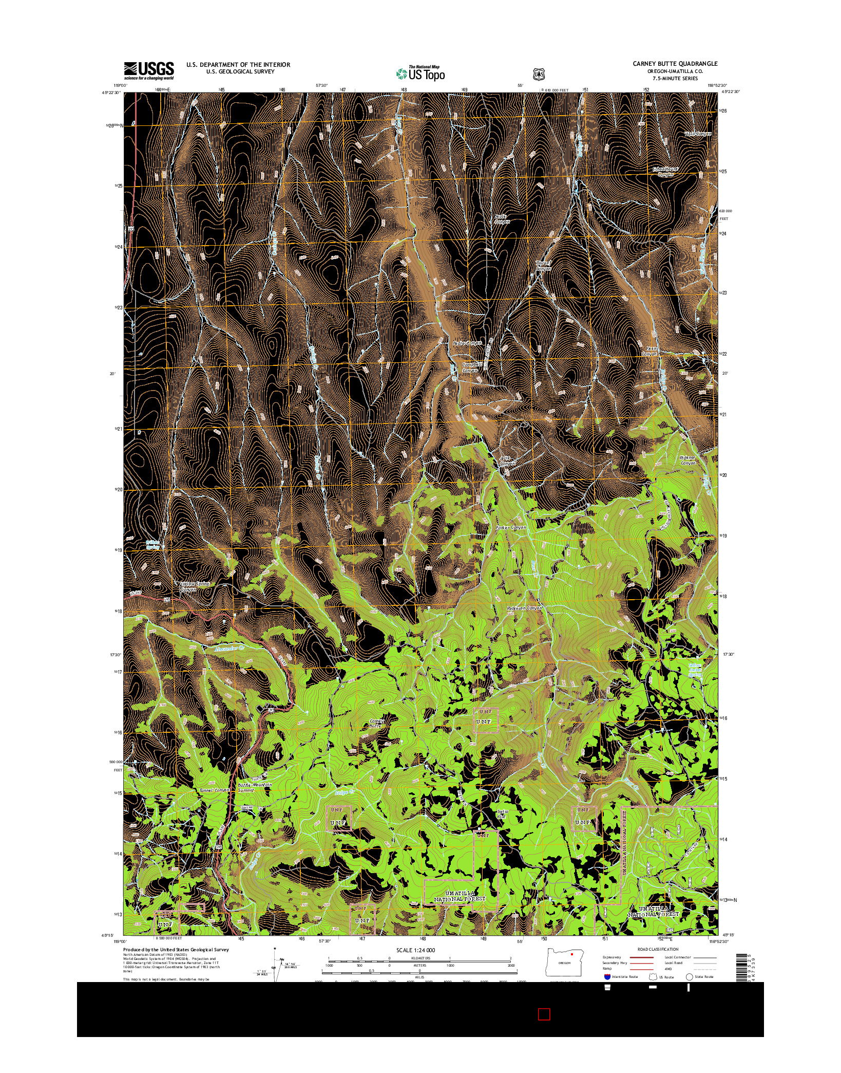 USGS US TOPO 7.5-MINUTE MAP FOR CARNEY BUTTE, OR 2014