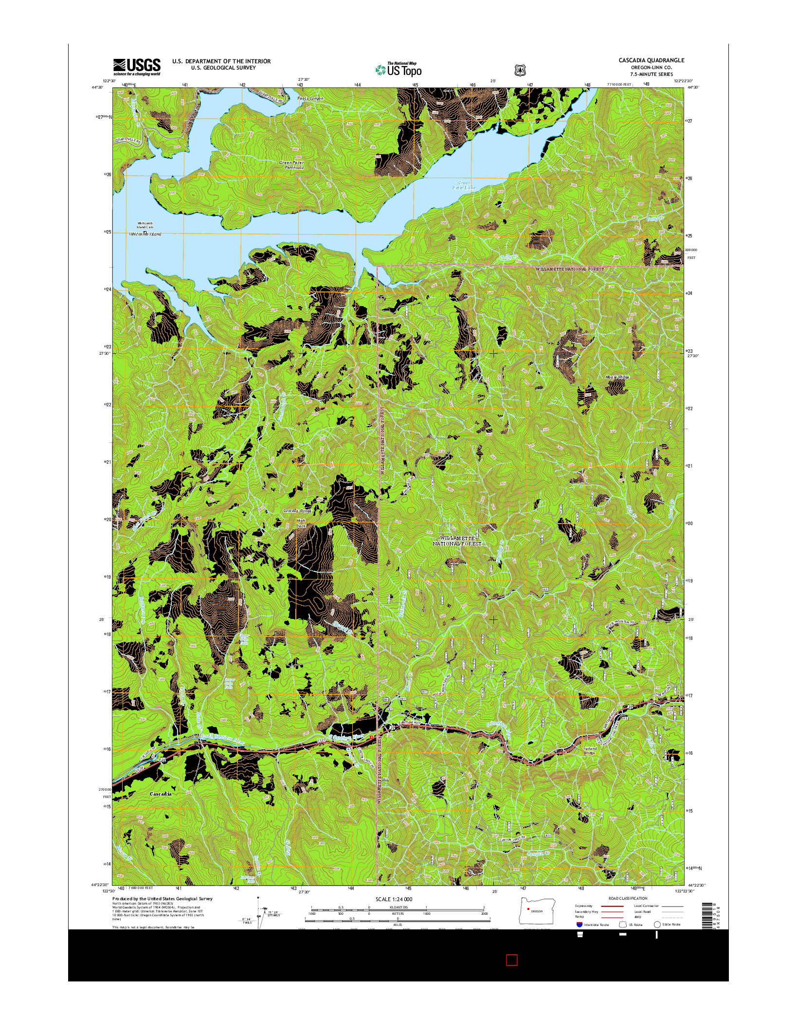 USGS US TOPO 7.5-MINUTE MAP FOR CASCADIA, OR 2014