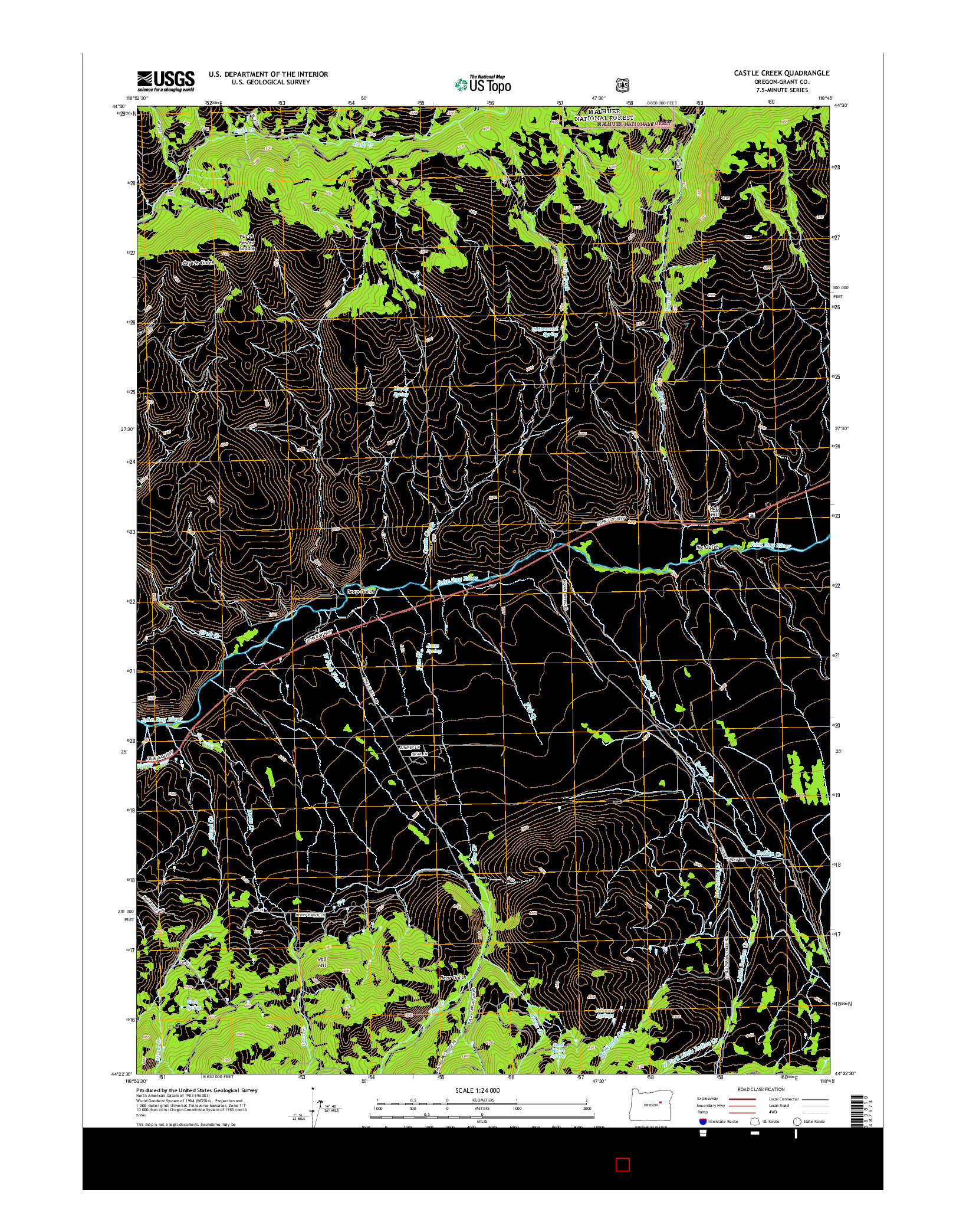 USGS US TOPO 7.5-MINUTE MAP FOR CASTLE CREEK, OR 2014