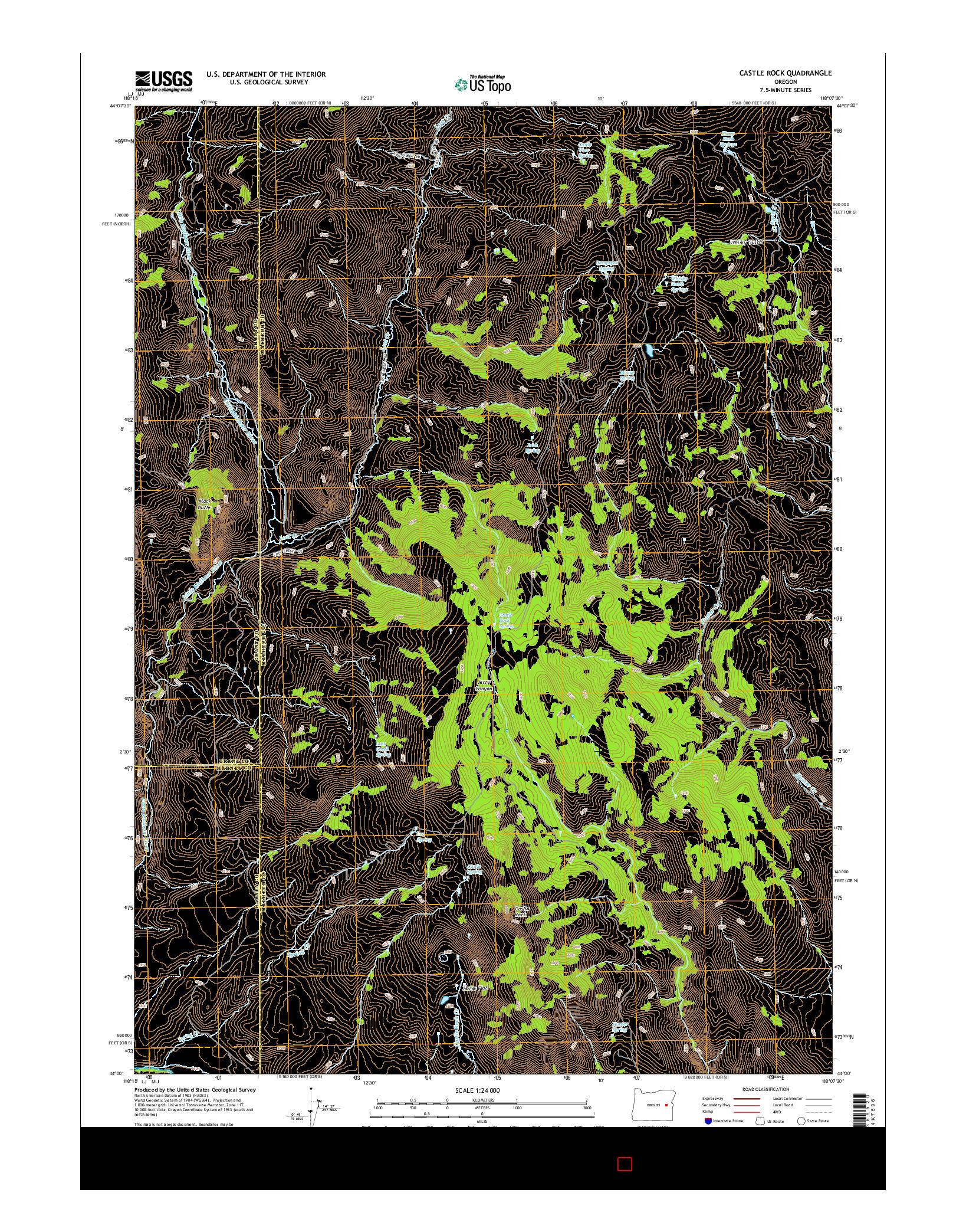 USGS US TOPO 7.5-MINUTE MAP FOR CASTLE ROCK, OR 2014