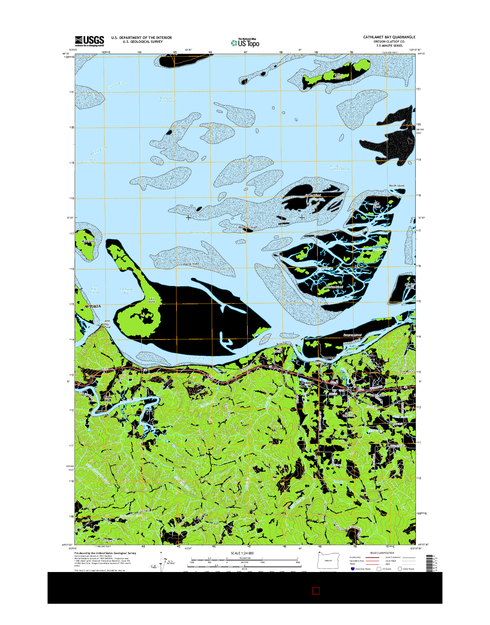 USGS US TOPO 7.5-MINUTE MAP FOR CATHLAMET BAY, OR 2014