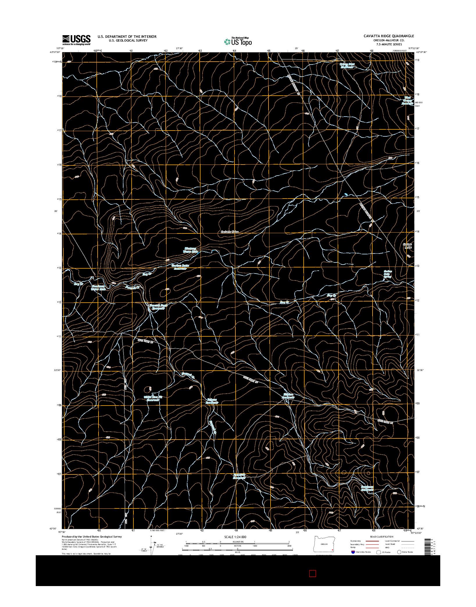 USGS US TOPO 7.5-MINUTE MAP FOR CAVIATTA RIDGE, OR 2014