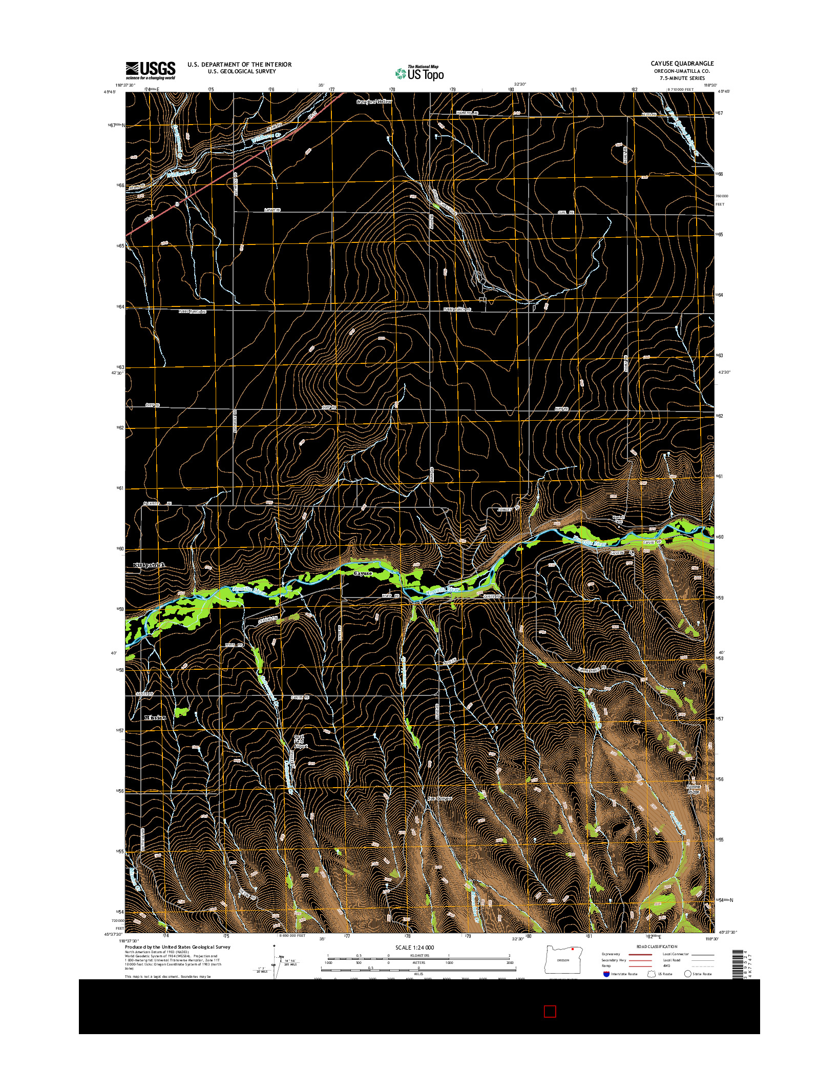 USGS US TOPO 7.5-MINUTE MAP FOR CAYUSE, OR 2014