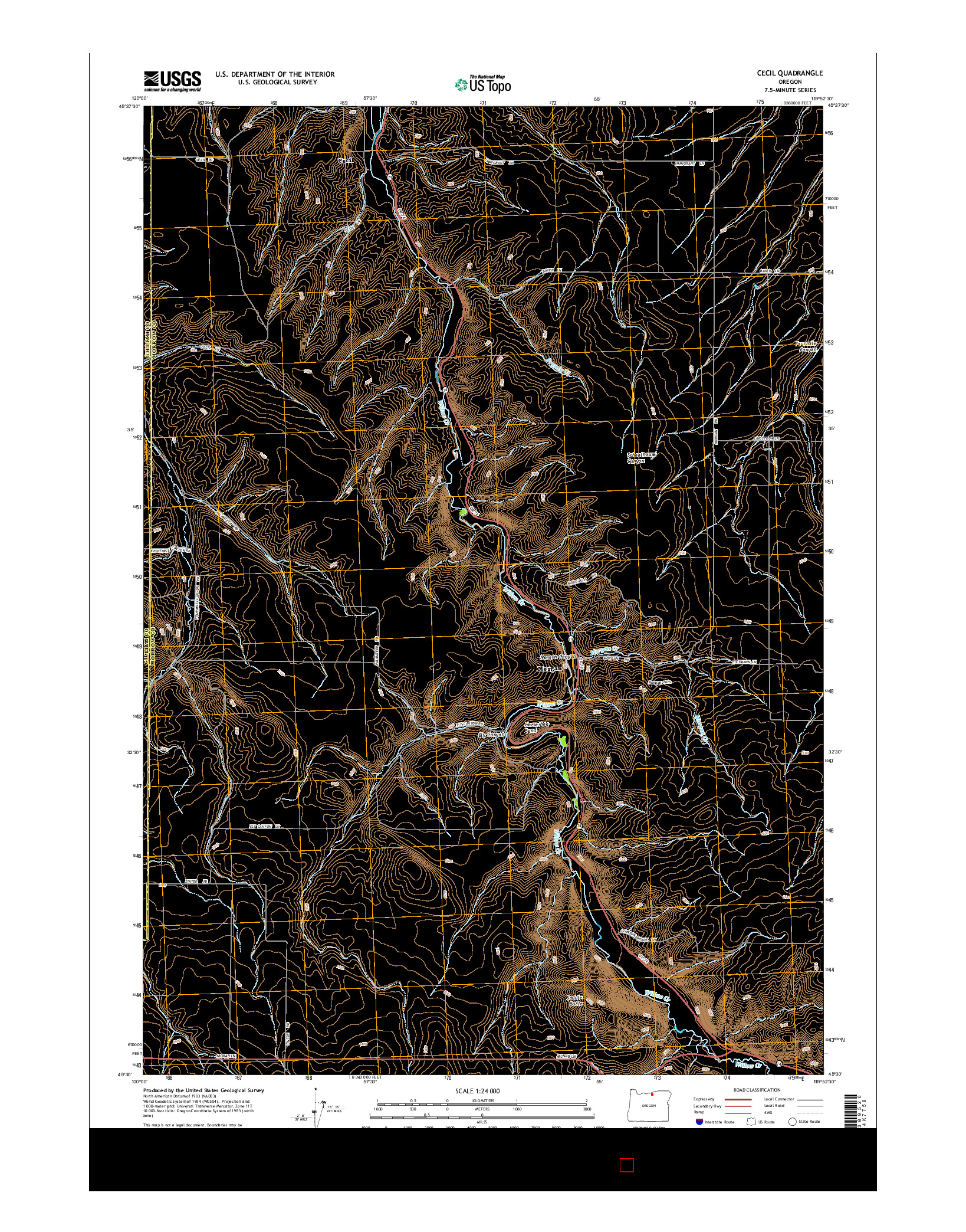 USGS US TOPO 7.5-MINUTE MAP FOR CECIL, OR 2014