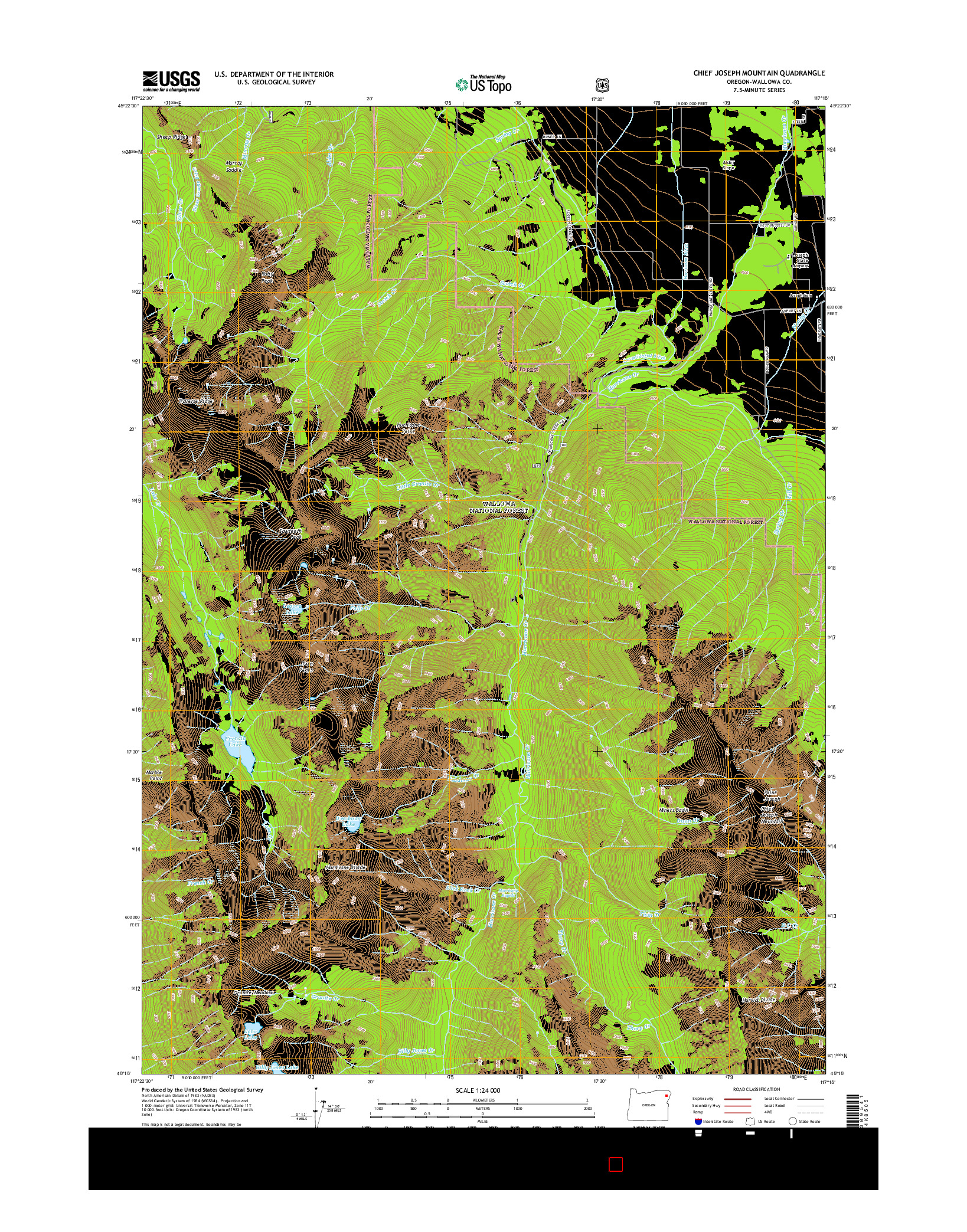 USGS US TOPO 7.5-MINUTE MAP FOR CHIEF JOSEPH MOUNTAIN, OR 2014