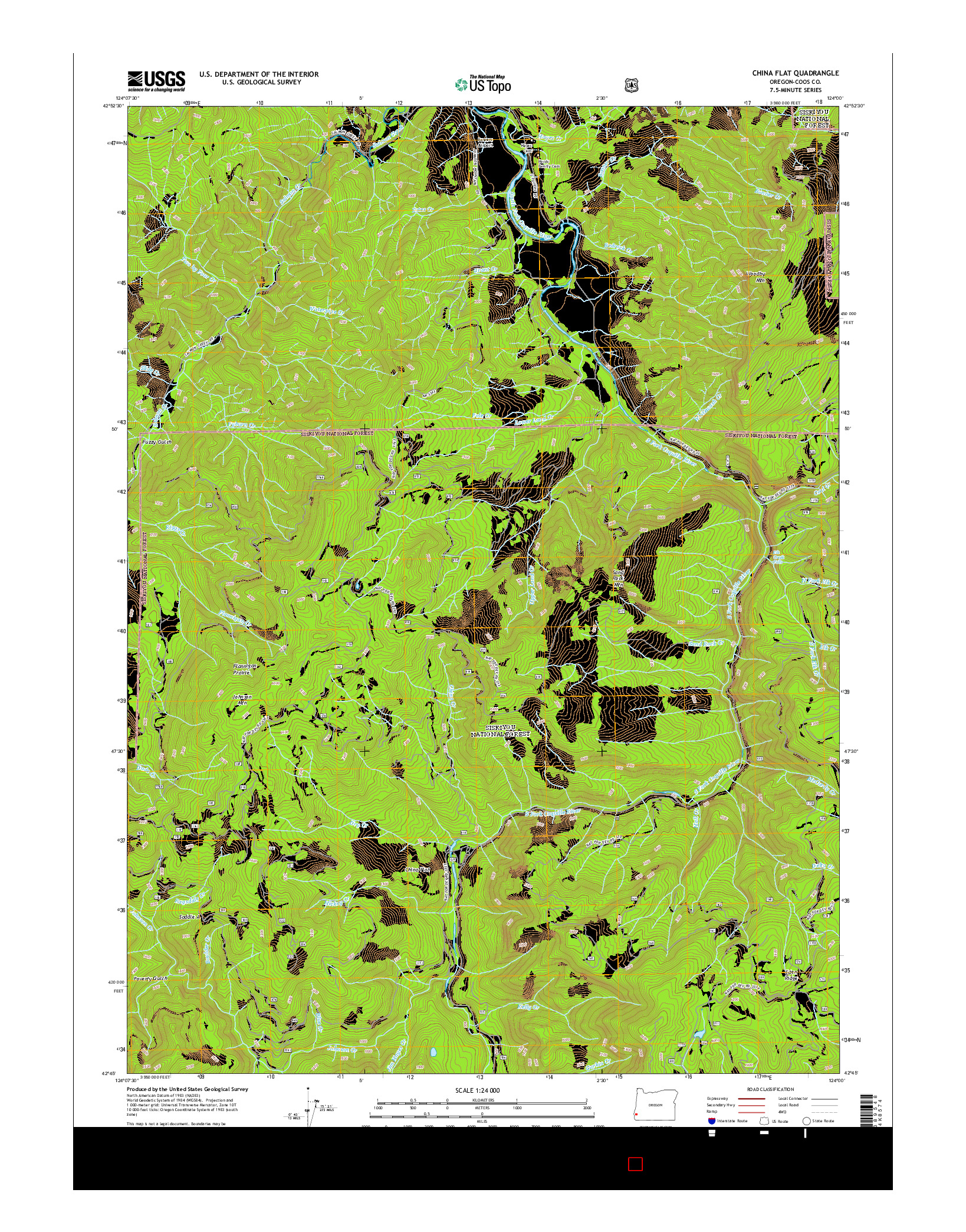 USGS US TOPO 7.5-MINUTE MAP FOR CHINA FLAT, OR 2014