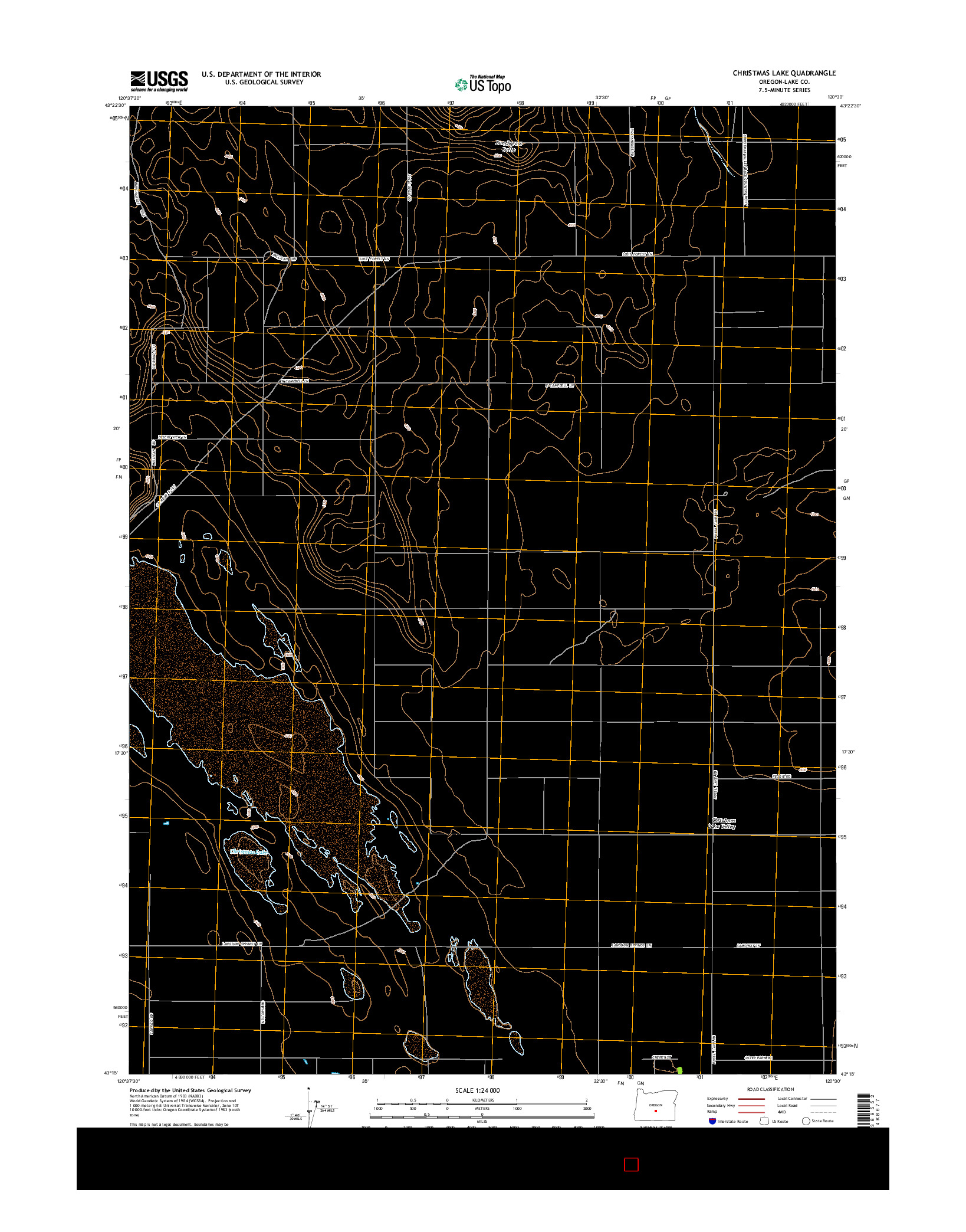 USGS US TOPO 7.5-MINUTE MAP FOR CHRISTMAS LAKE, OR 2014