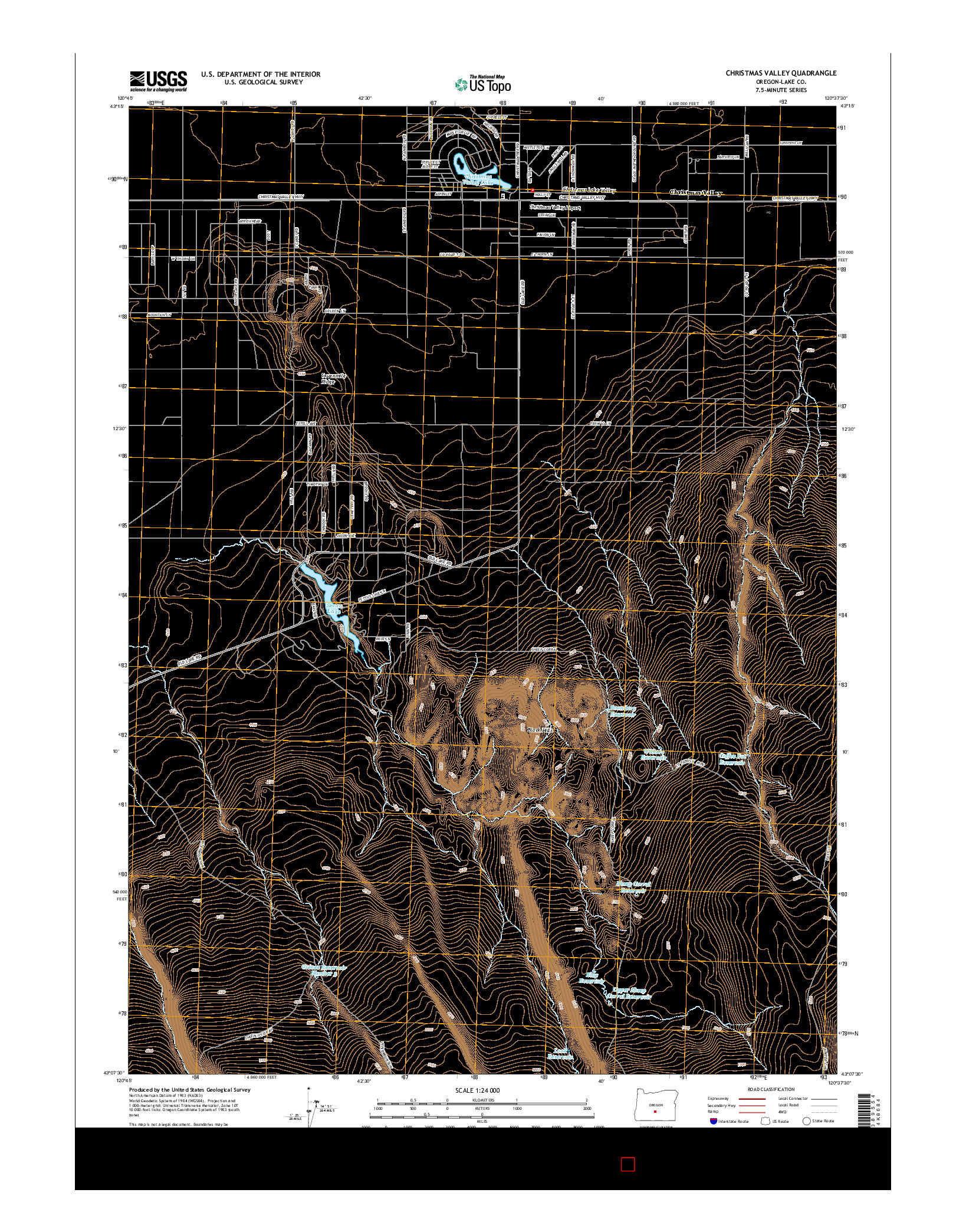 USGS US TOPO 7.5-MINUTE MAP FOR CHRISTMAS VALLEY, OR 2014